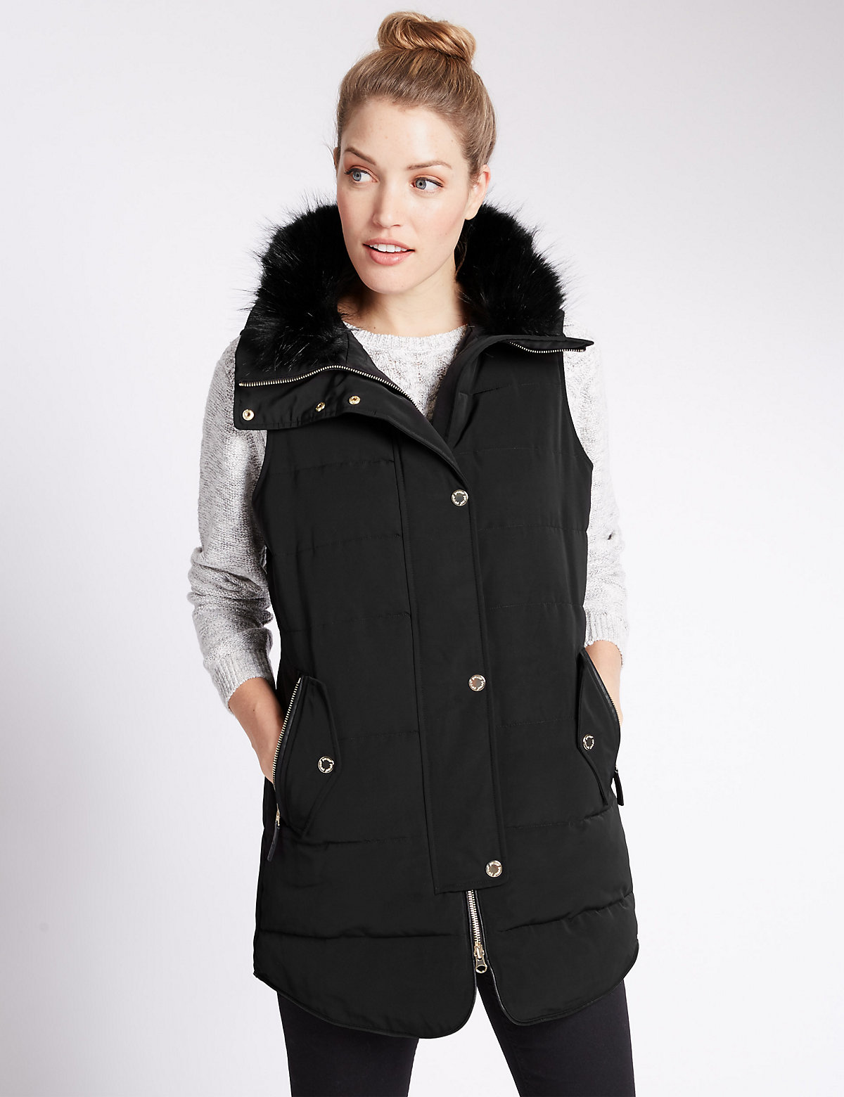 Per Una Funnel Neck Gilet Coat