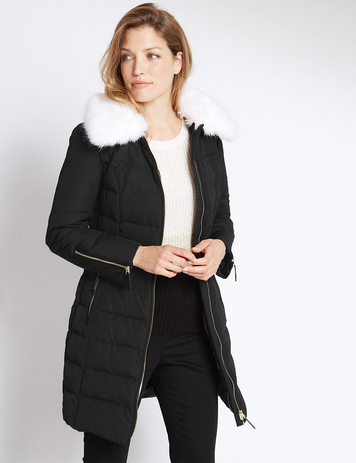 Per Una Faux Fur Padded & Quilted Coat
