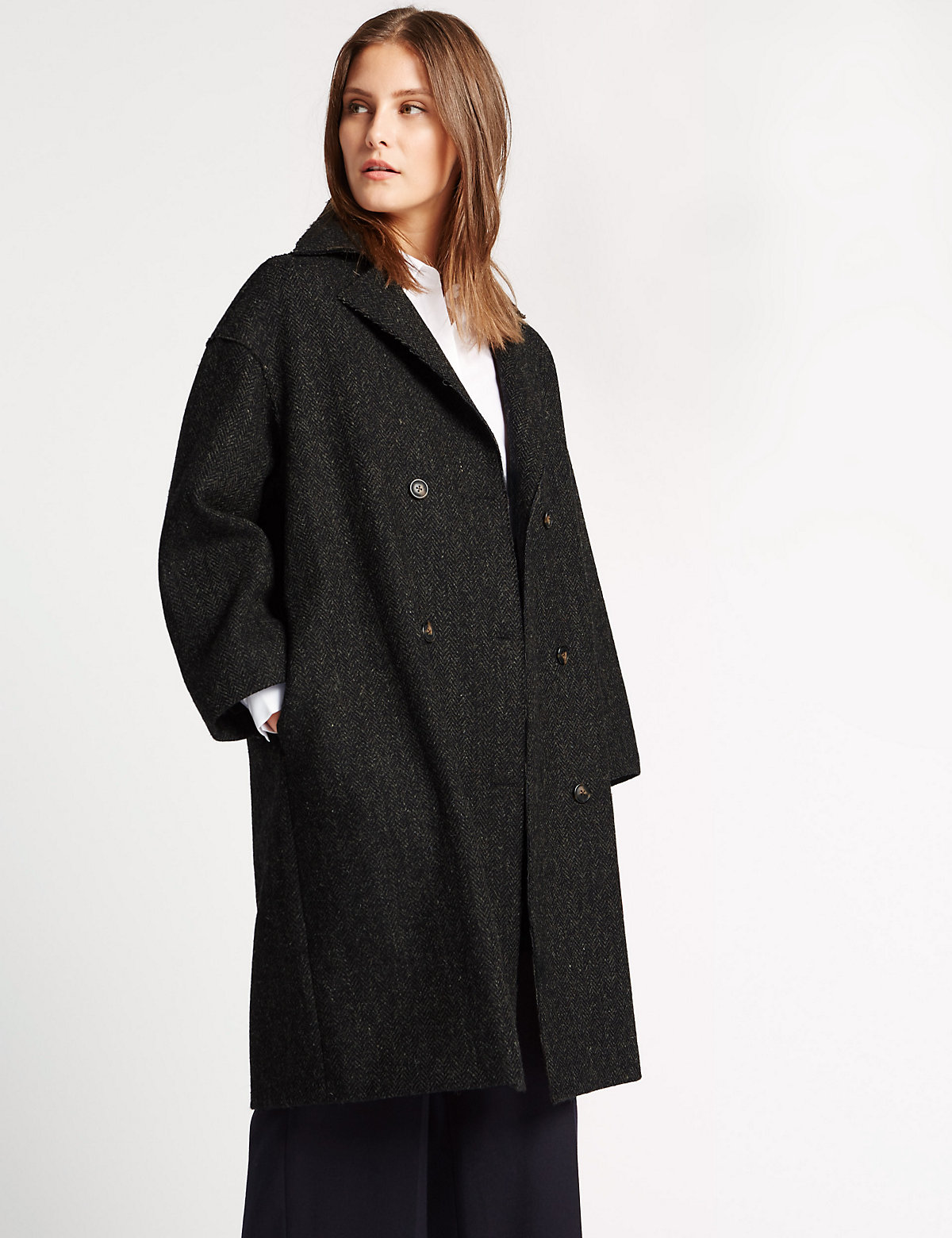 Best Of British For M&s Collection Pure Wool Collared Neck Overcoat