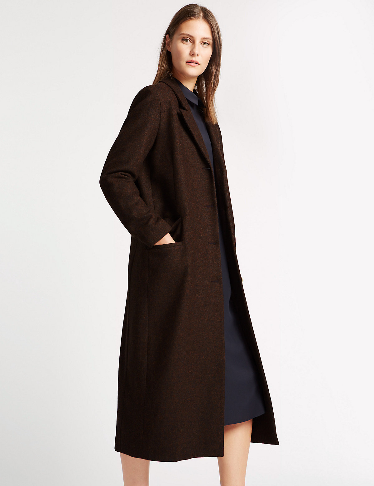 Best Of British For M&s Collection Pure Wool Long Length Overcoat