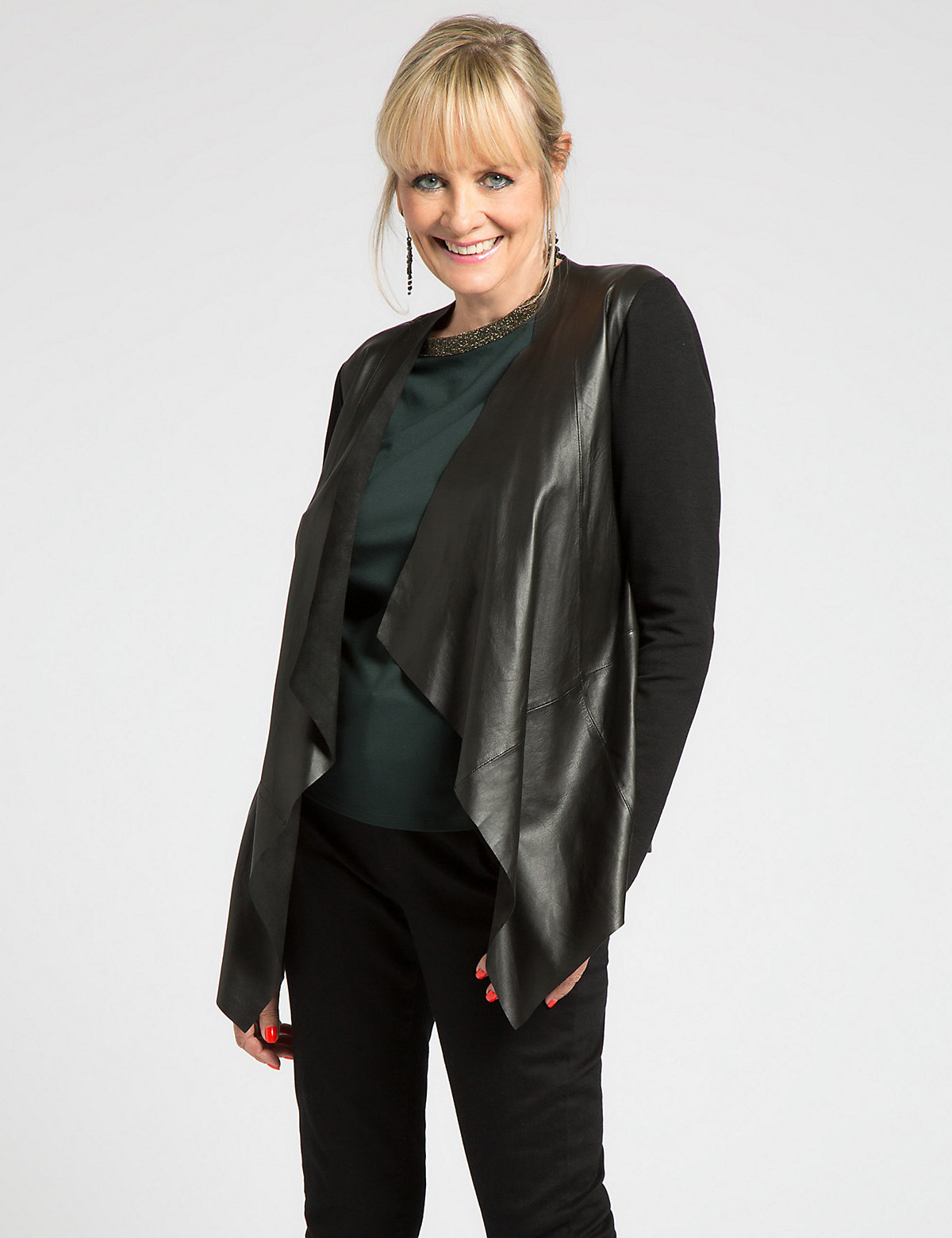 Designed by Twiggy for Classic Pure Leather Waterfall Jacket