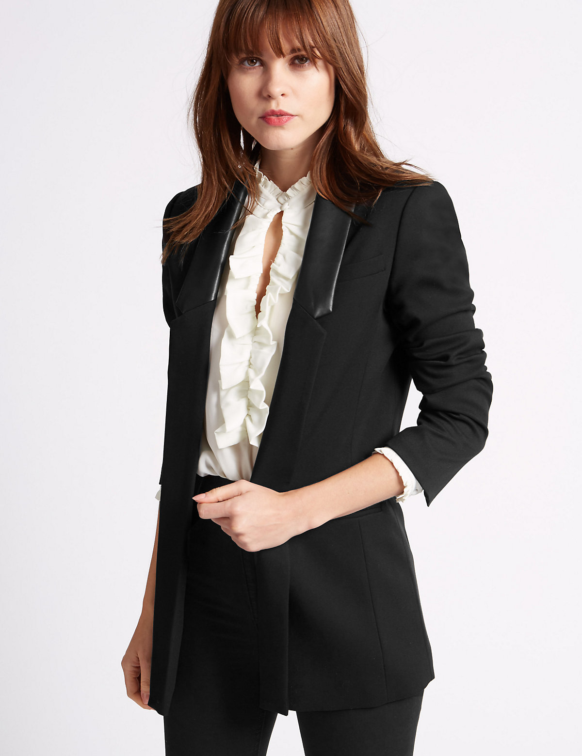 Limited Edition Faux Leather Coated Tuxedo Jacket