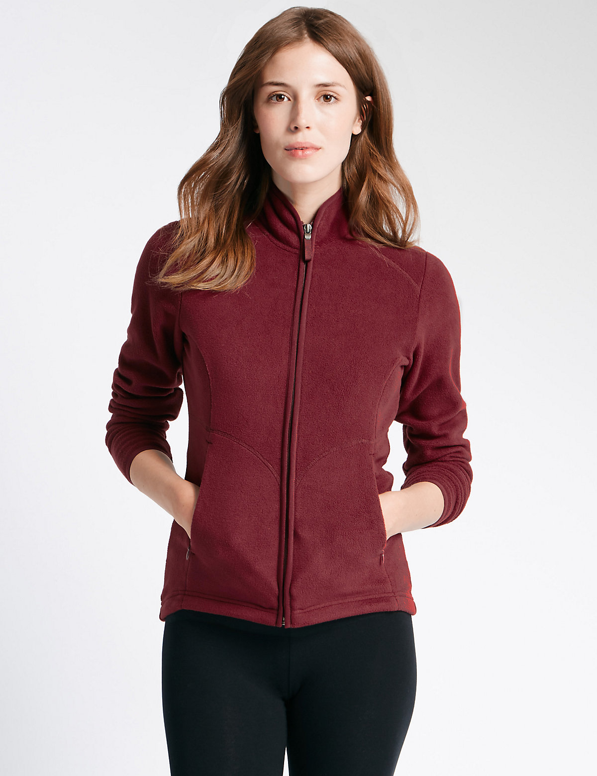M&s Collection Plus Zipped Fleece Jacket