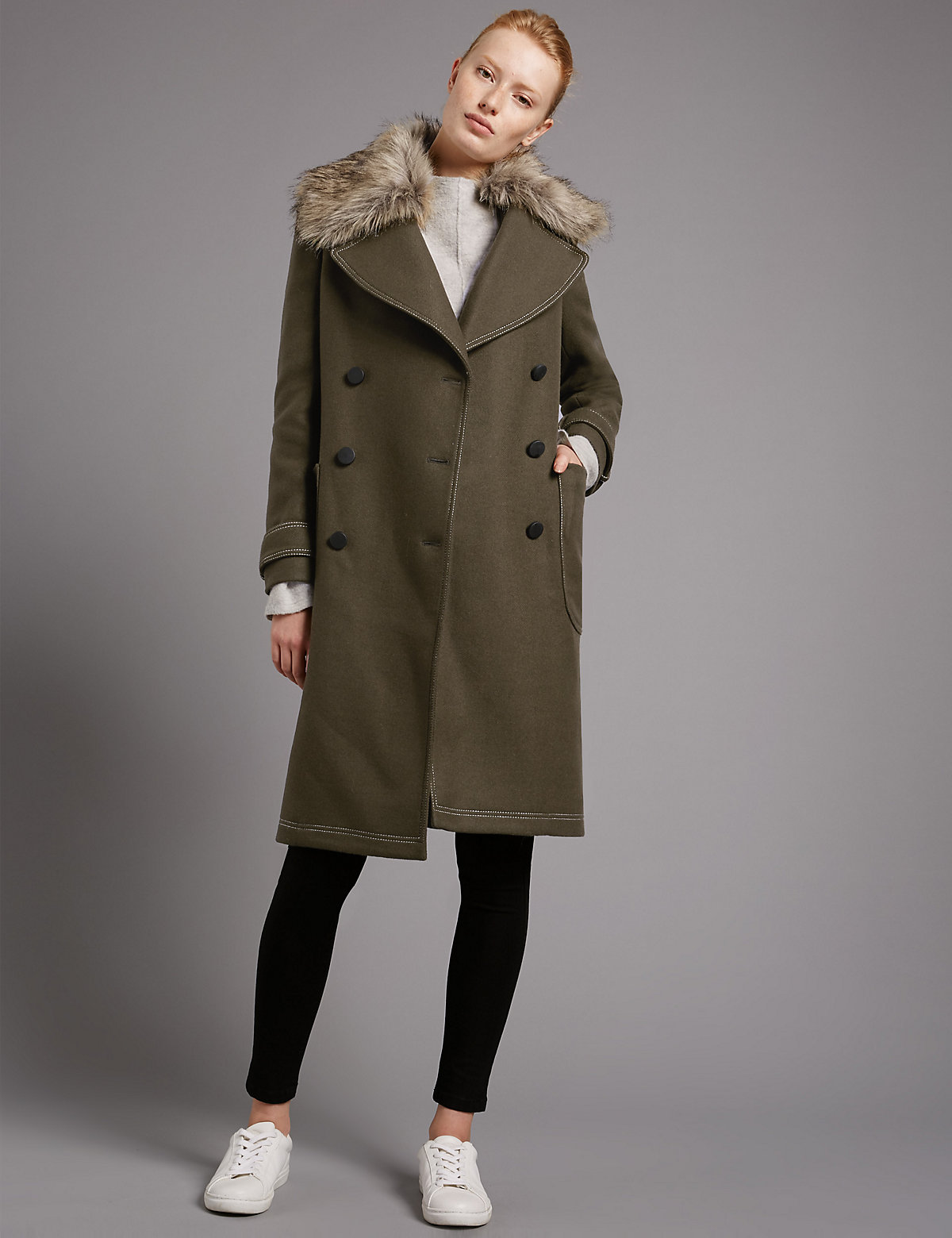 Autograph Collared Neck Wool Blend Overcoat