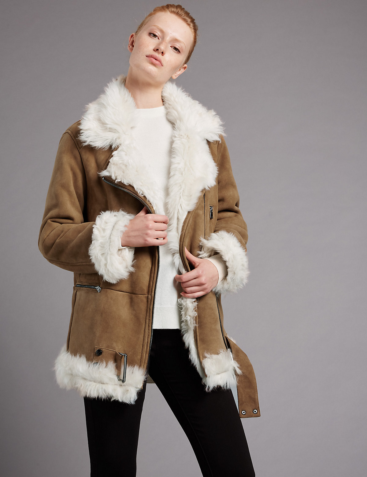 Autograph Suede Real Shearling Jacket