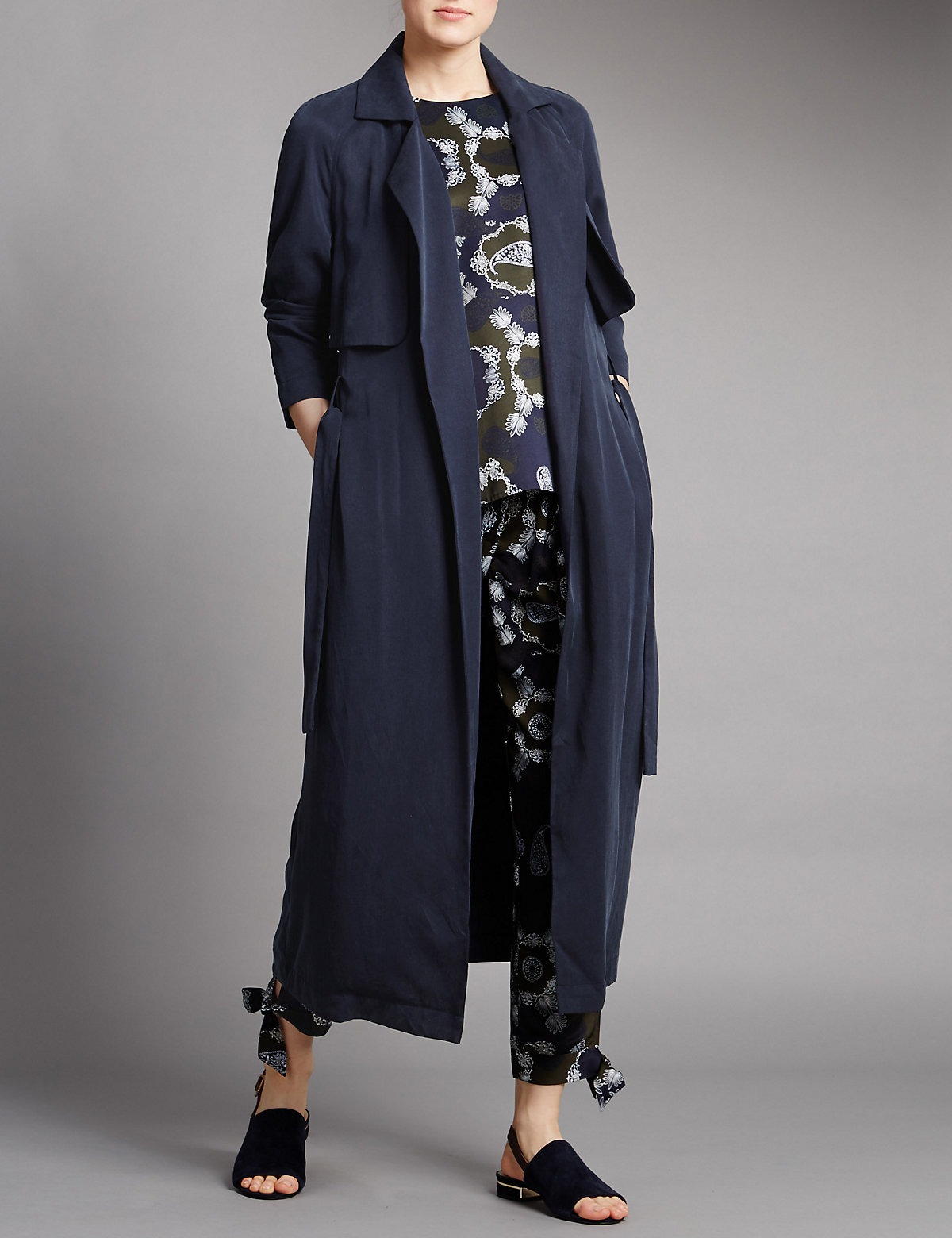 Image of Autograph Belted Long Soft Trench Coat