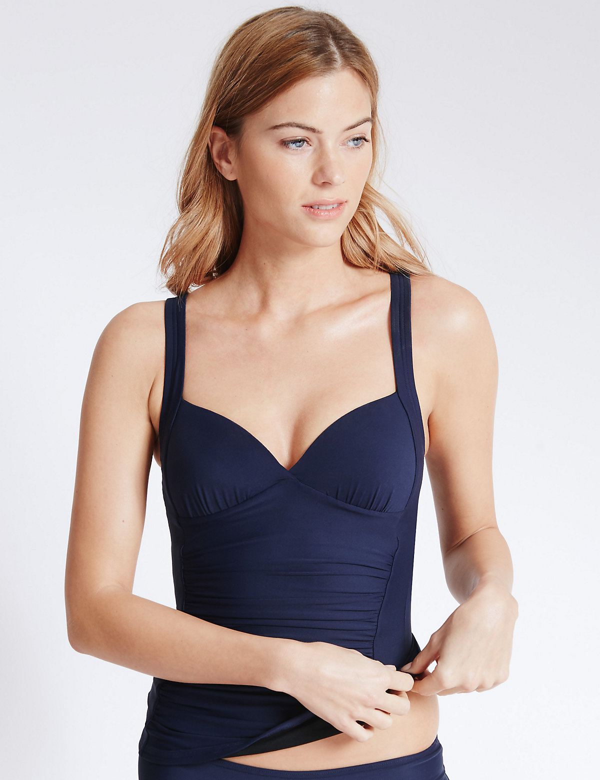 M&S Collection Ruched Plunge Tankini Top