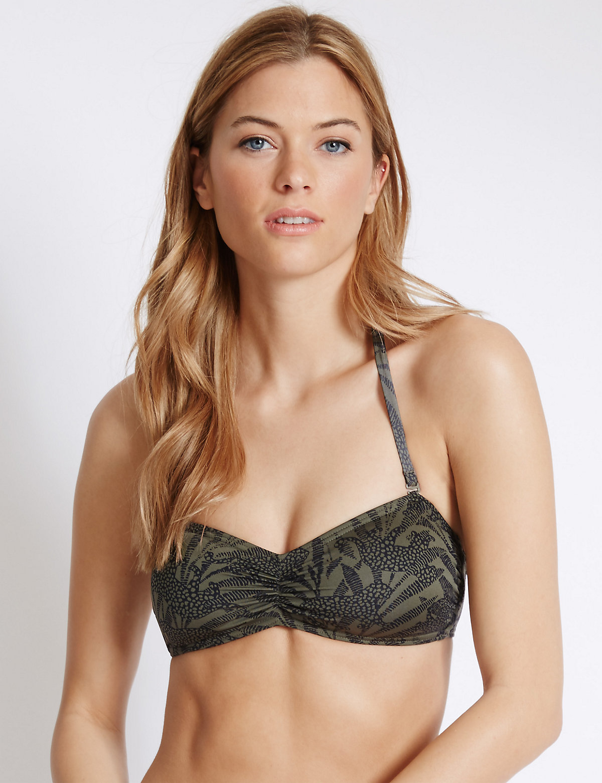 M&S Collection Animal Print Bandeau Bikini Top
