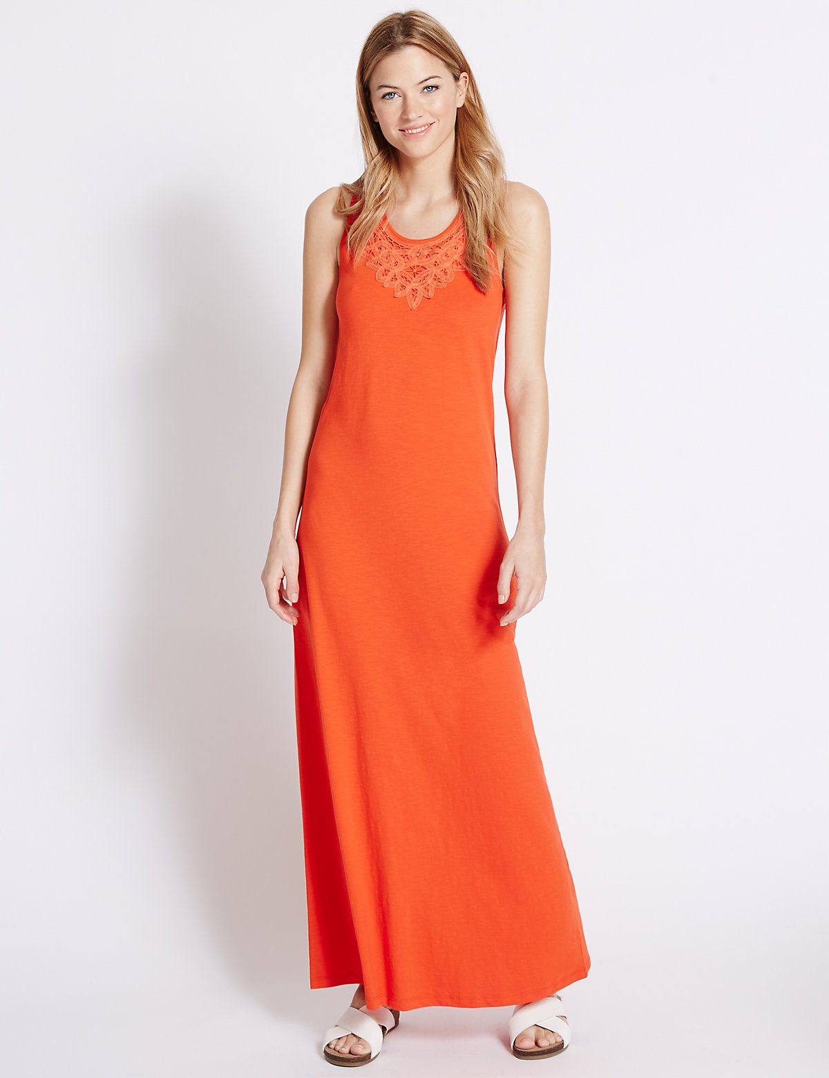 MS Collection Pure Cotton Jersey Applique Maxi Dress Marks and Spencer P22501673