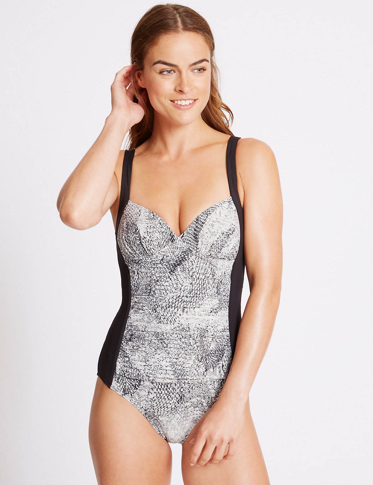 M&S Collection Secret Slimming Printed Plunge Swimsuit