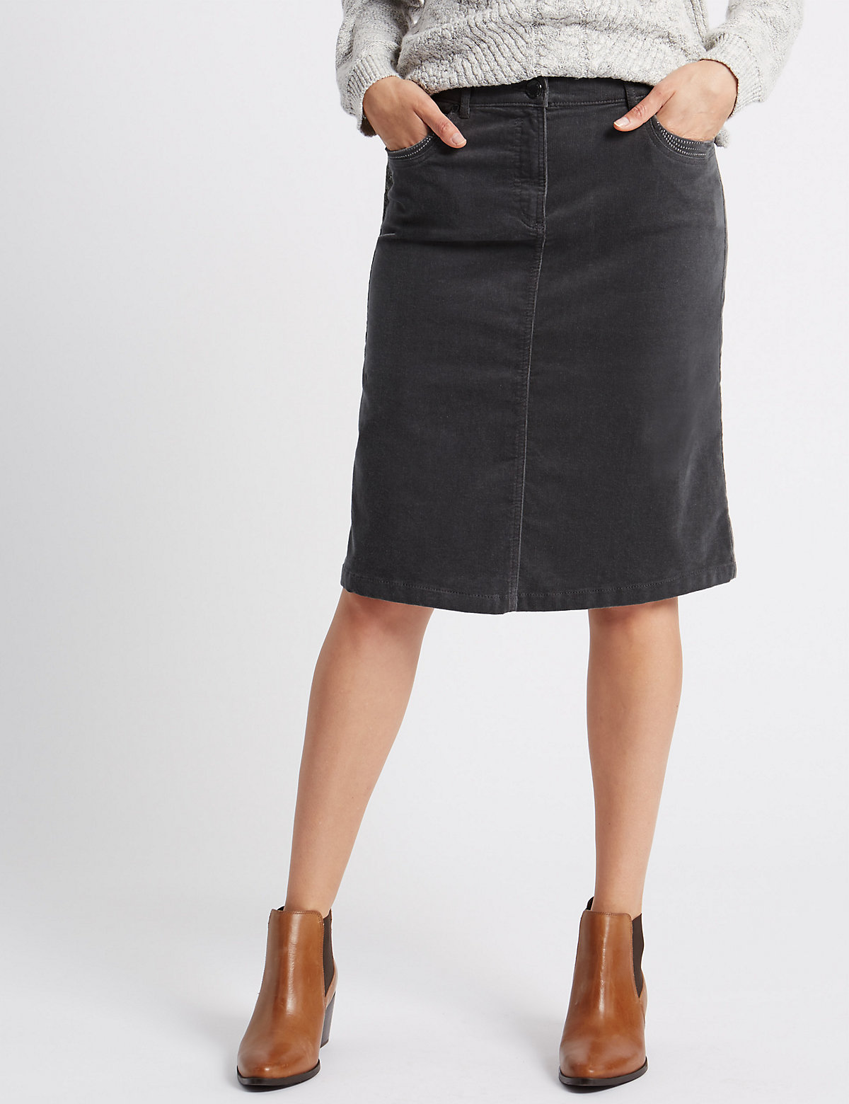 Per Una Cotton Rich Midi Skirt