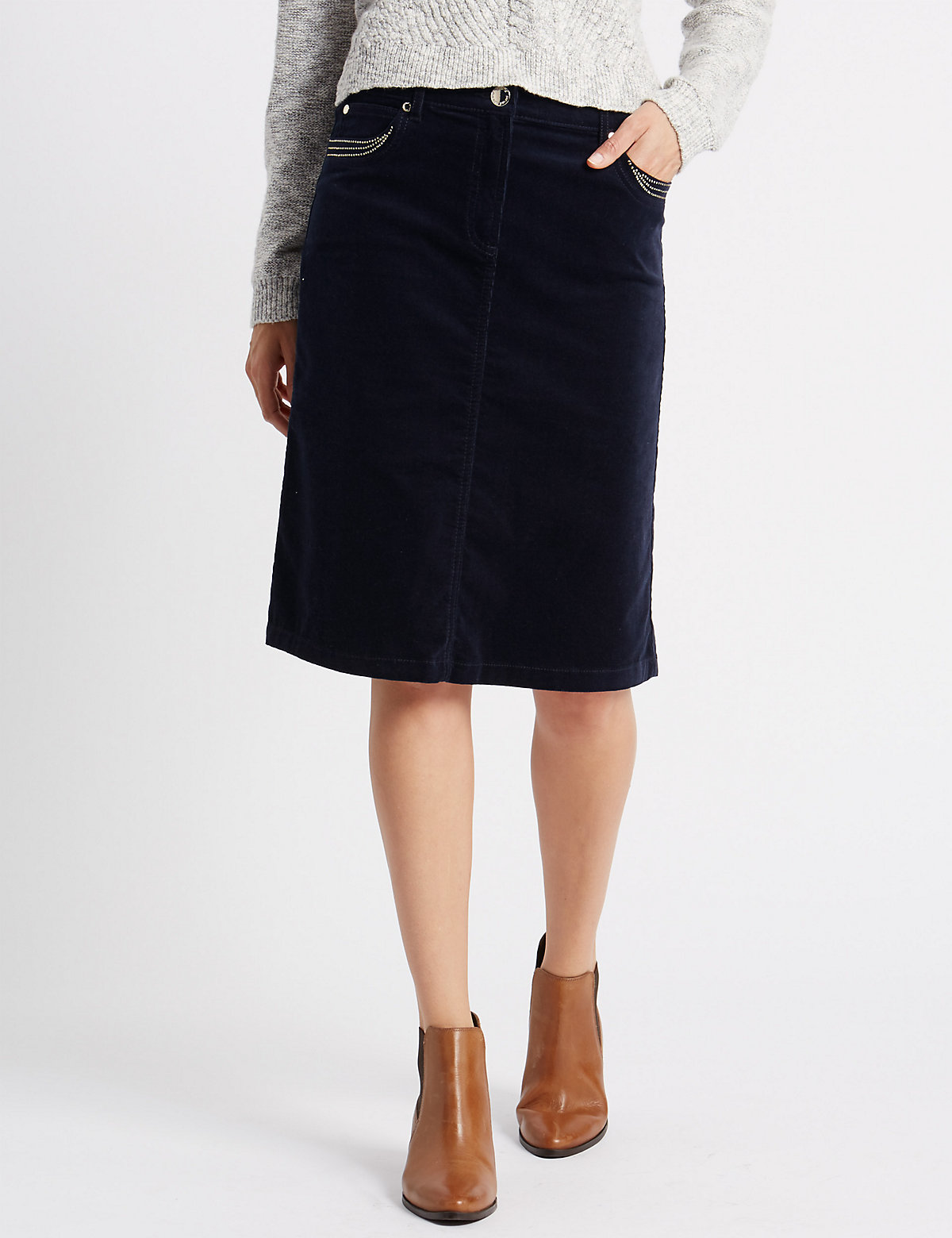 Per Una Cotton Rich Cord Midi Skirt