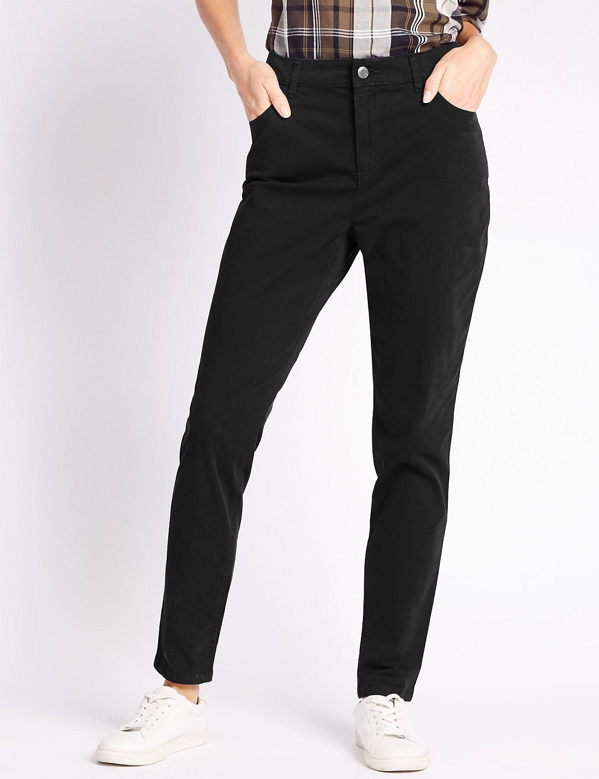 M&S Collection Cotton Rich Sateen Skinny Trousers