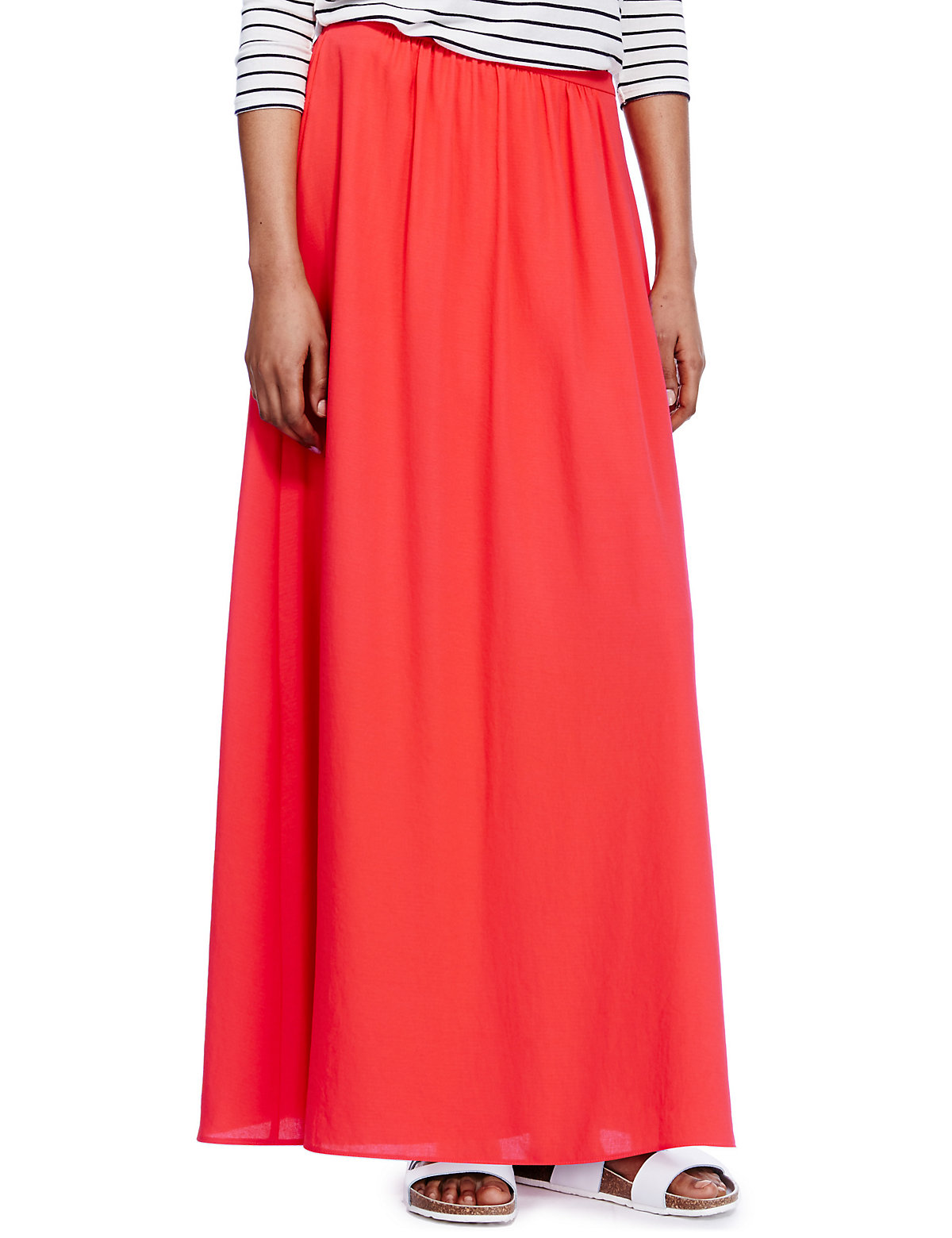 m s collection flared hem a line maxi skirt