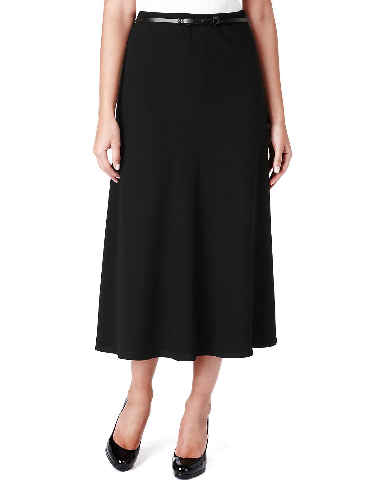 M  S Collection A-Line Crêpe Long Skirt with Belt $25.00 AT vintagedancer.com