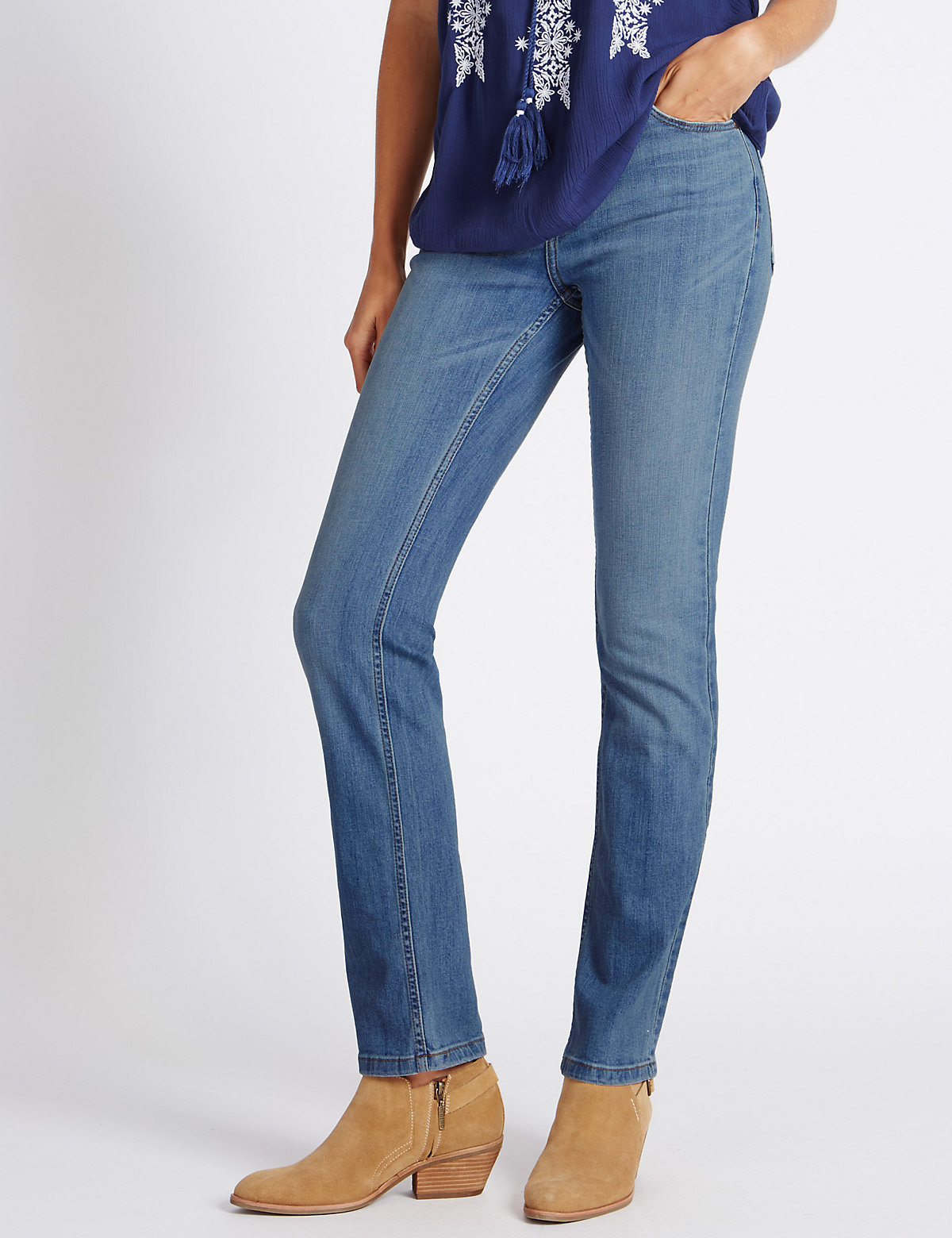 Indigo Collection Mid Rise Straight Leg Jeans
