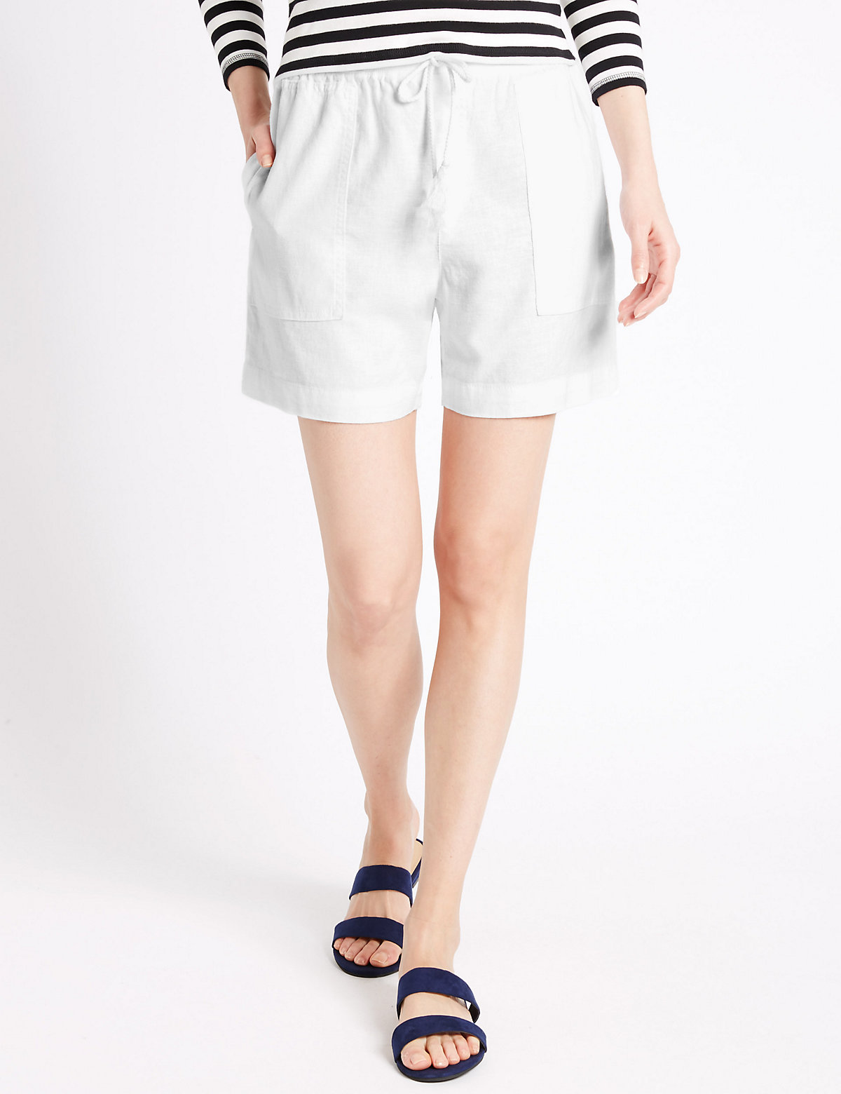 M&S Collection Linen Rich Drawstring Shorts.