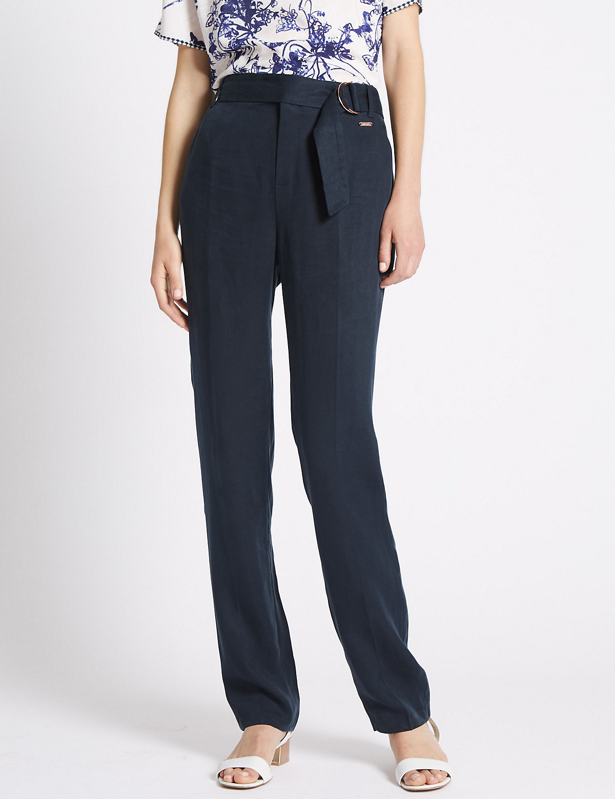 Per Una Tencel Rich Roma Rise D-Ring Tapered Trousers with Linen