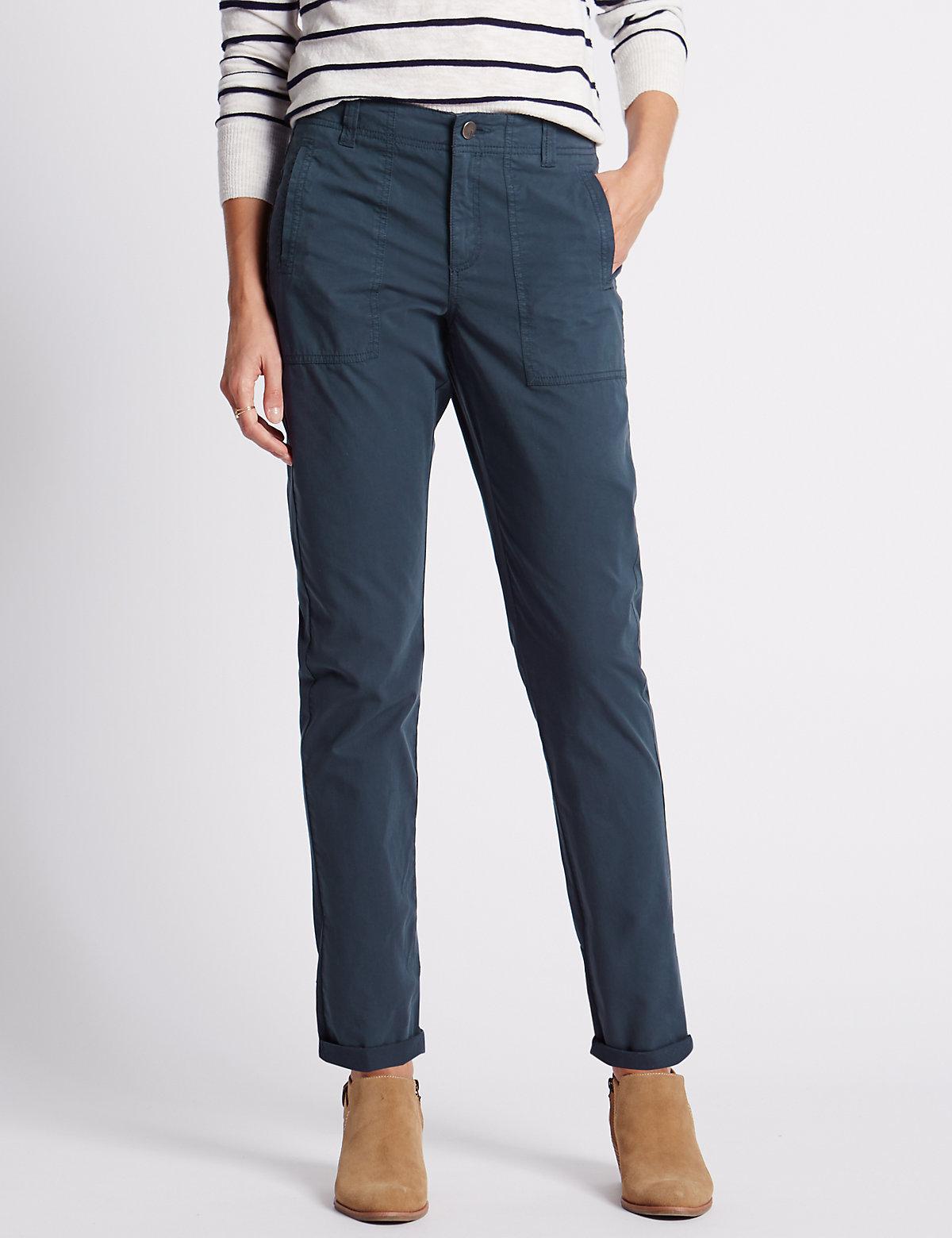 Indigo Collection Pure Cotton Pocket Cargo Trousers