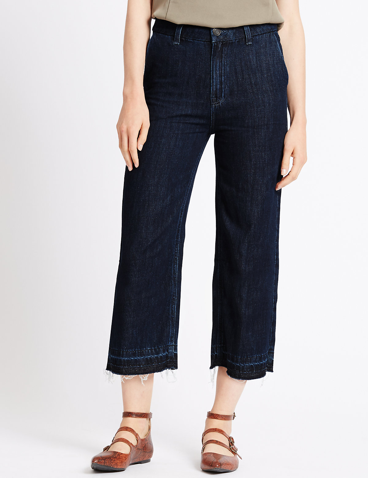 M&S Collection Wide Leg Cropped Jeans