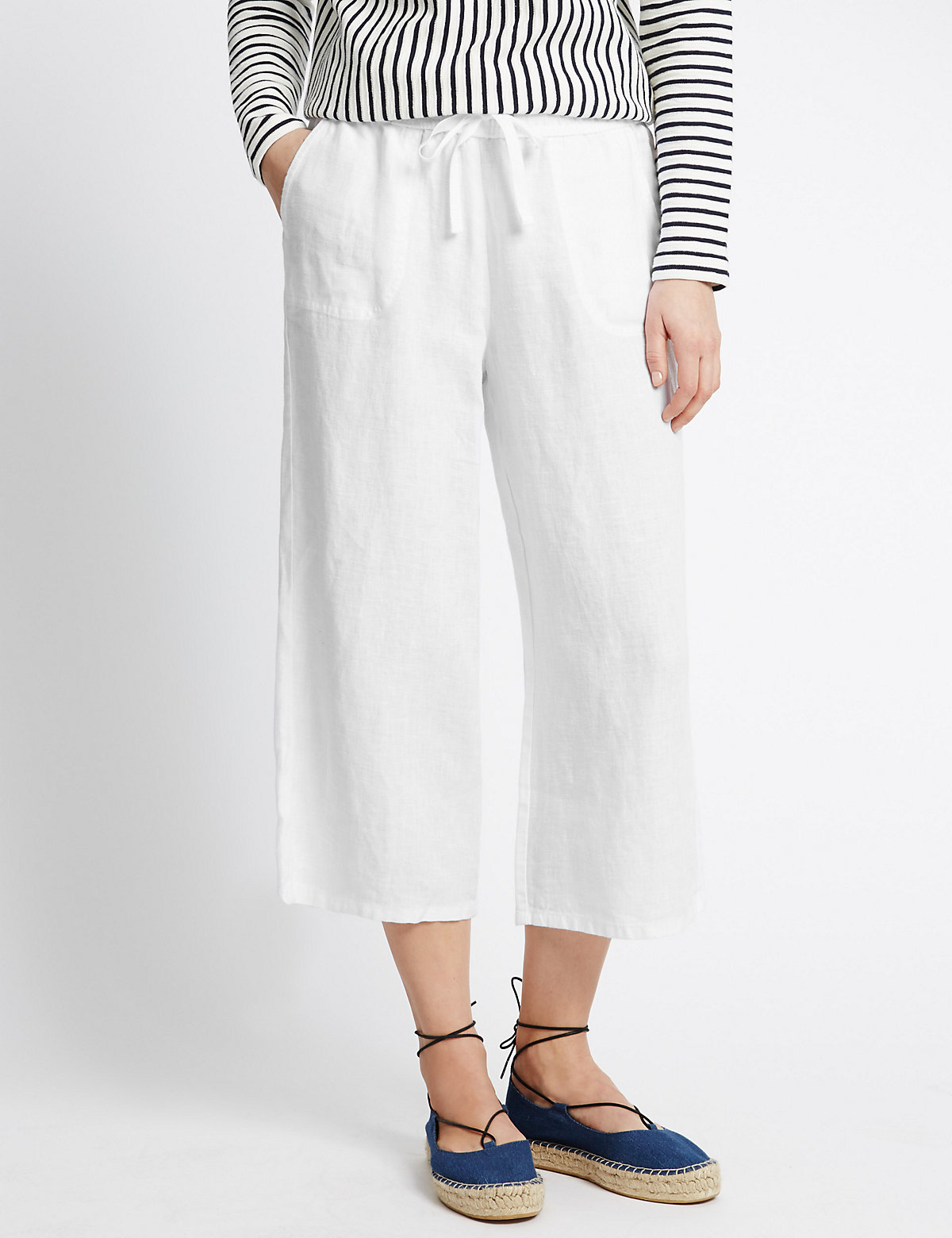 M&S Collection Pure Linen Wide Leg Cropped Trousers