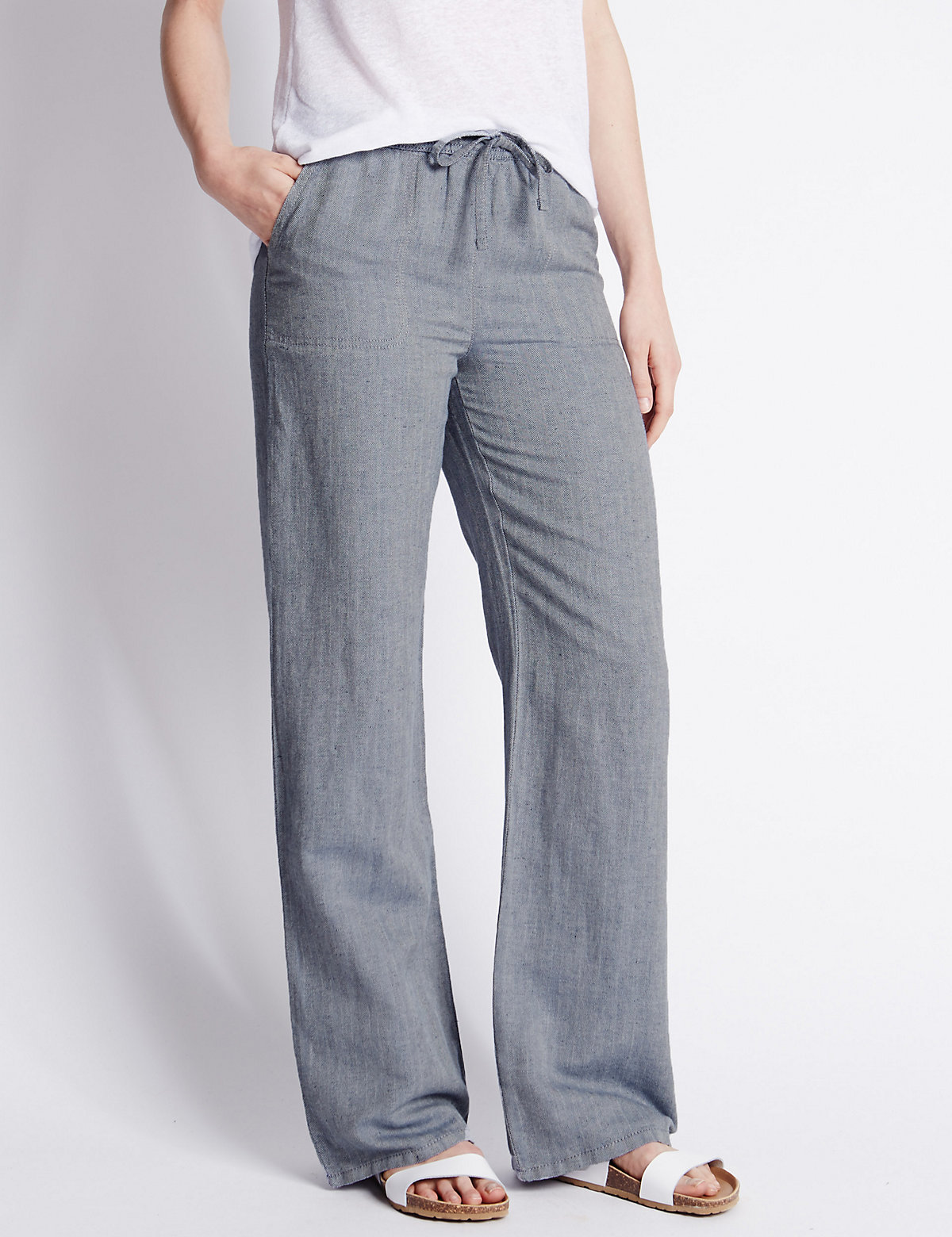 MS Collection Linen Blend Herringbone Wide Leg Trousers Marks and Spencer P22428635