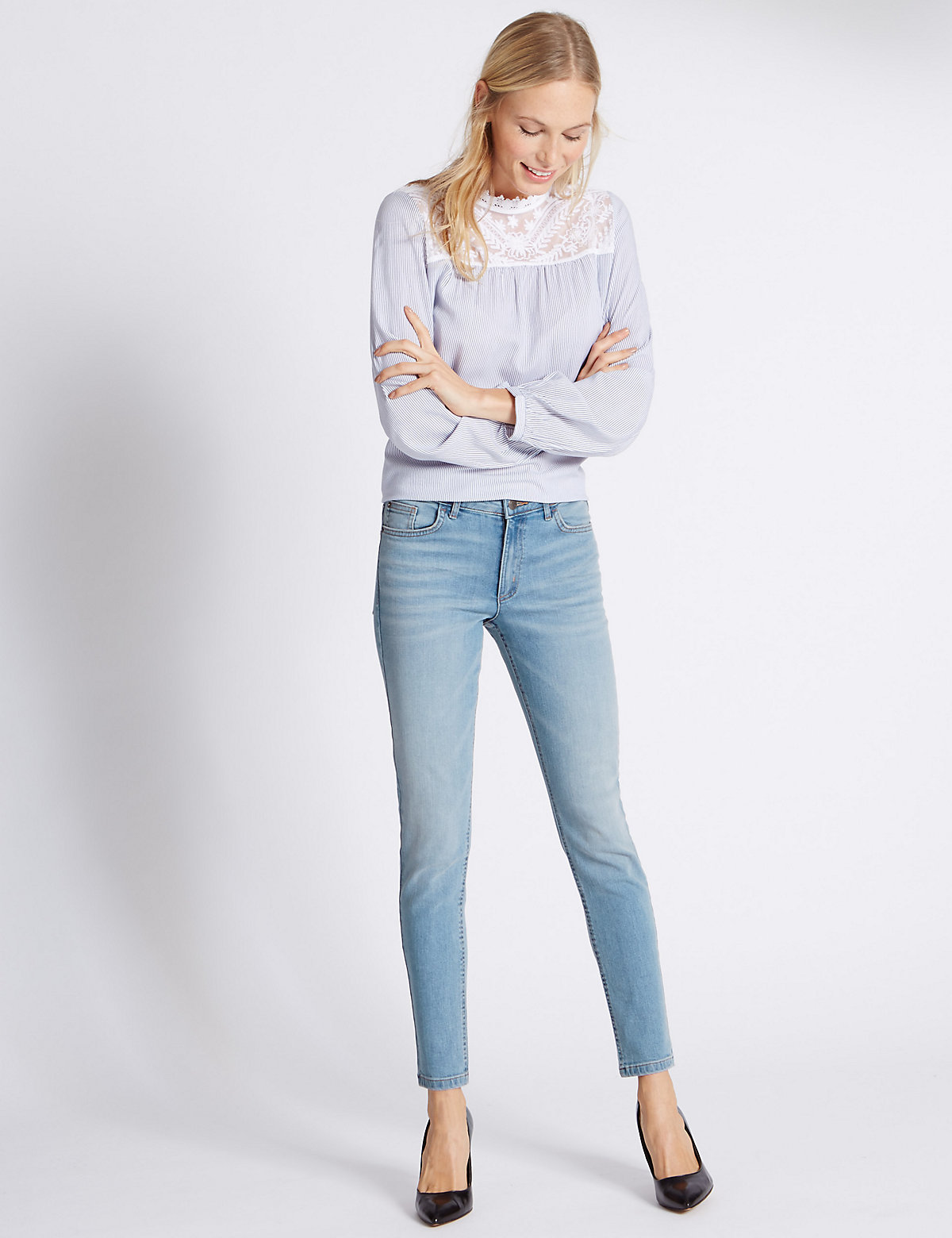MS Collection Low Rise Skinny Leg Jeans Marks and Spencer P22484331