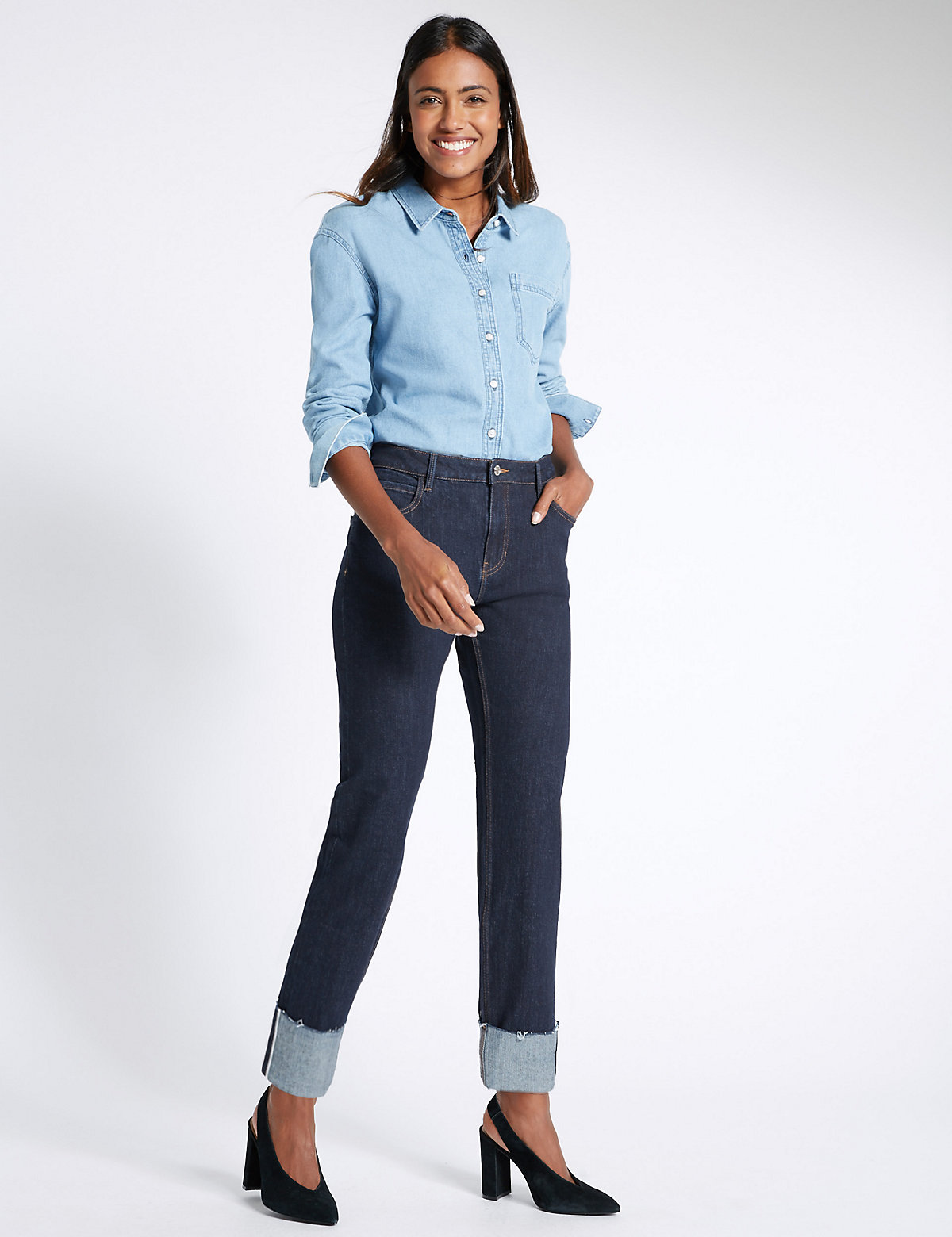 M&S Collection Straight Leg Turn Up Jeans