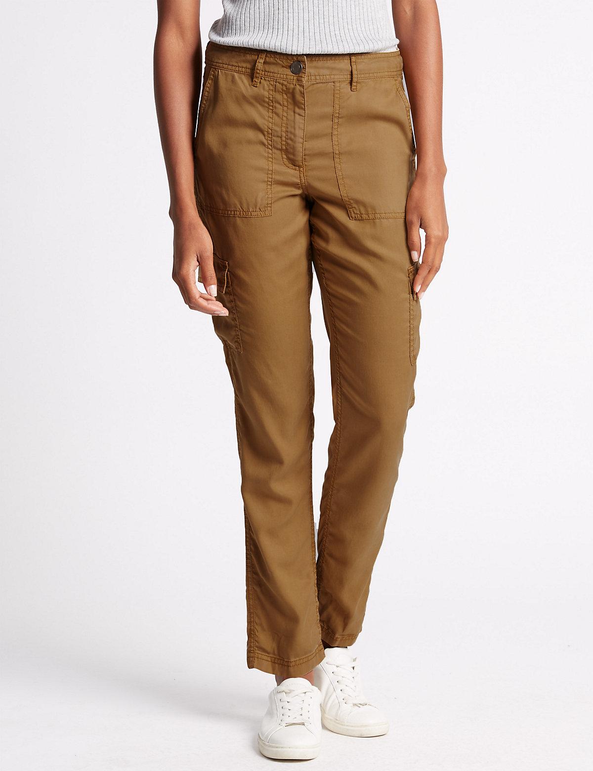 M&S Collection Tencel Peg Leg Cargo Trousers