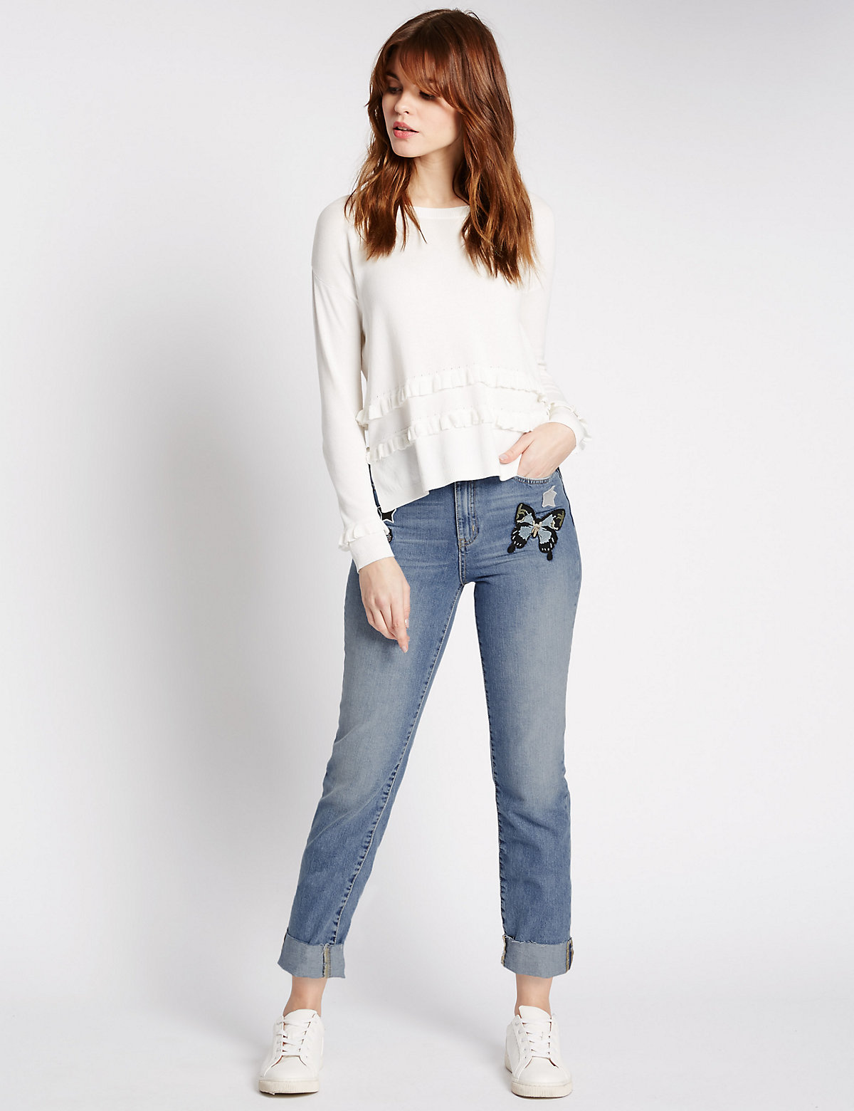 Limited Edition Butterfly Patch Cropped Slim Leg Jeans
