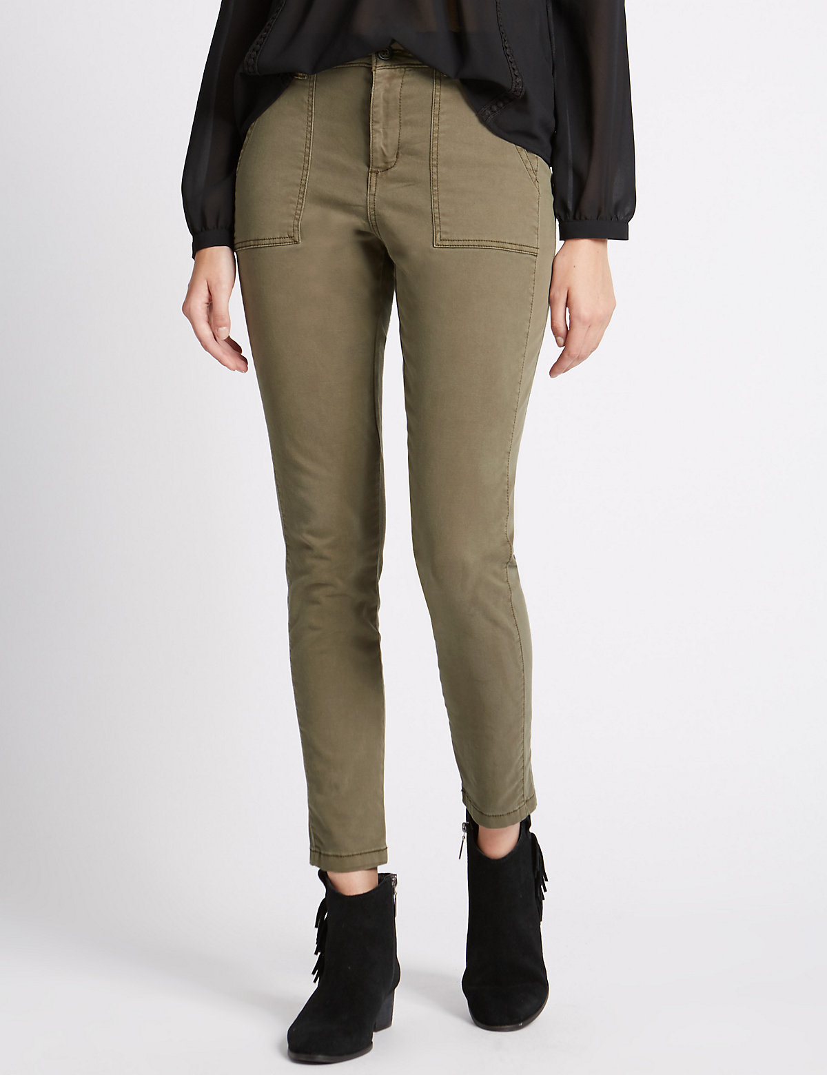 Indigo Collection Cargo Slim Leg Trousers