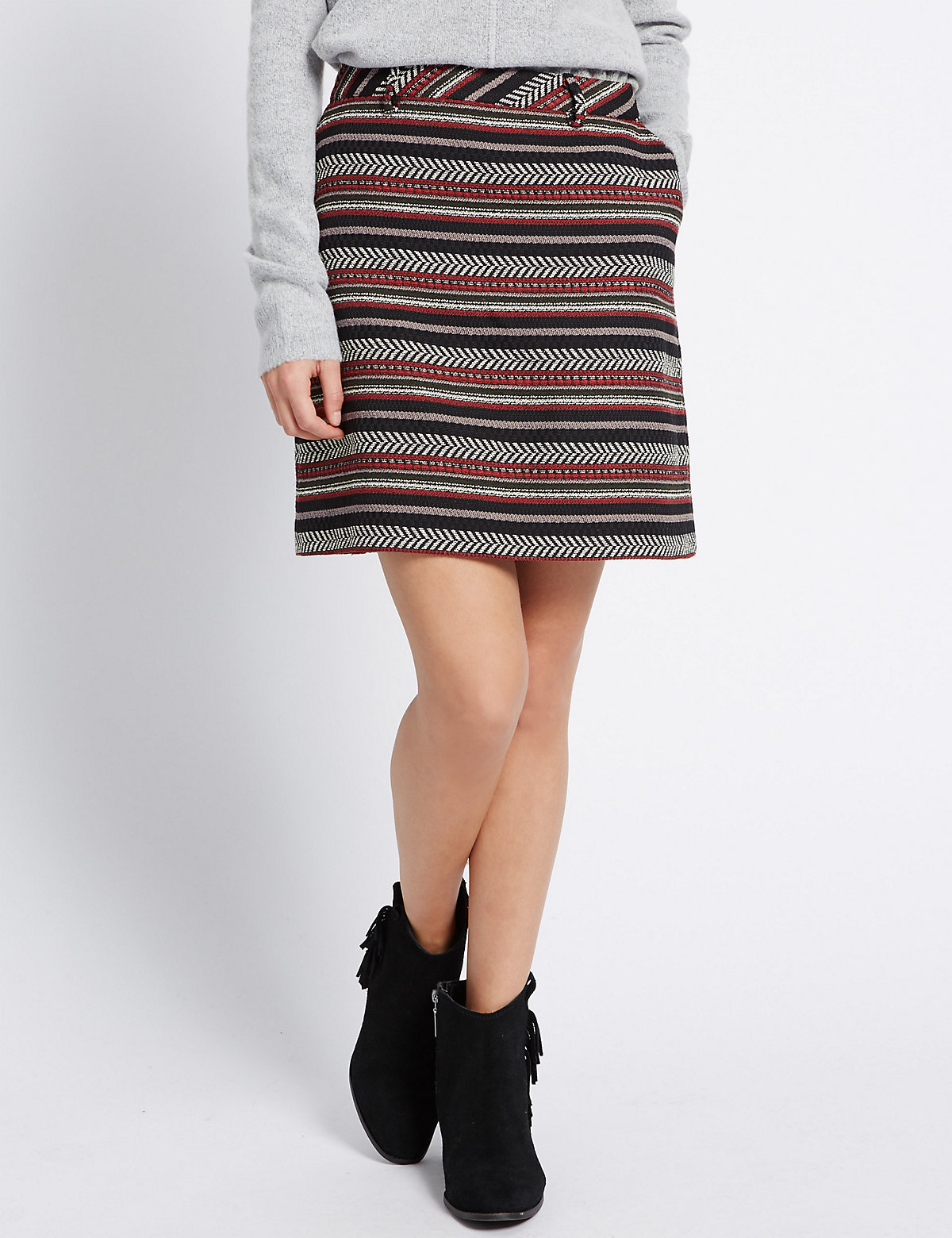 Indigo Collection Cotton Blend Aztec Textured Midi Skirt