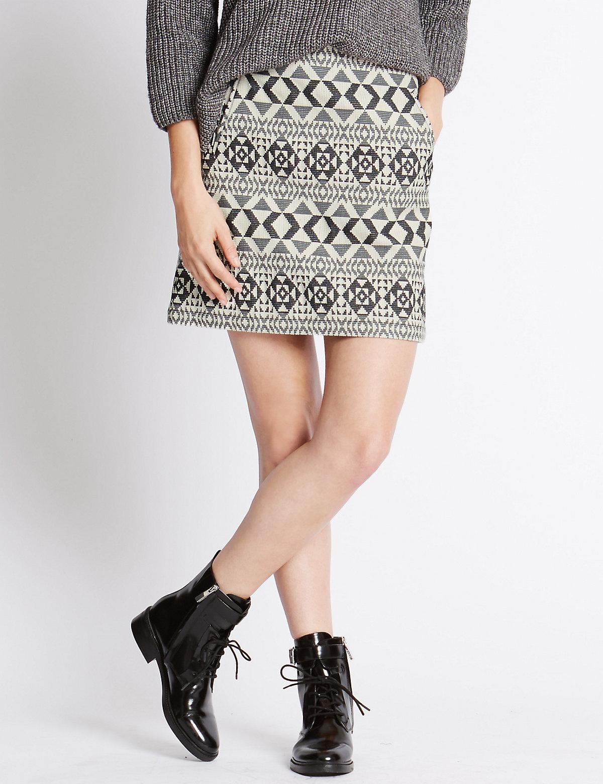 Indigo Collection Jacquard Mini Skirt