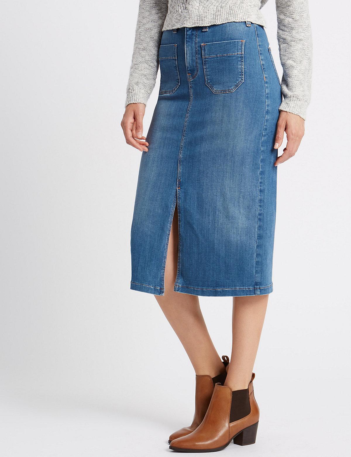 Per Una Cotton Rich Denim Skirt
