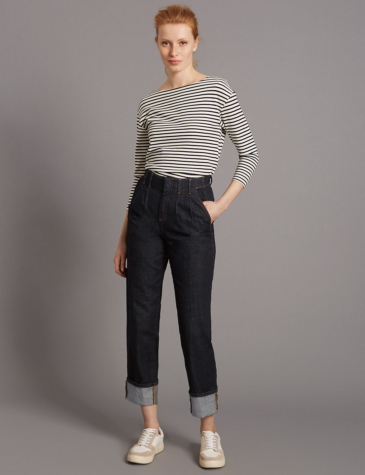 Autograph Smart Turn Up Mid Rise Straight Jeans Marks and Spencer P22508926
