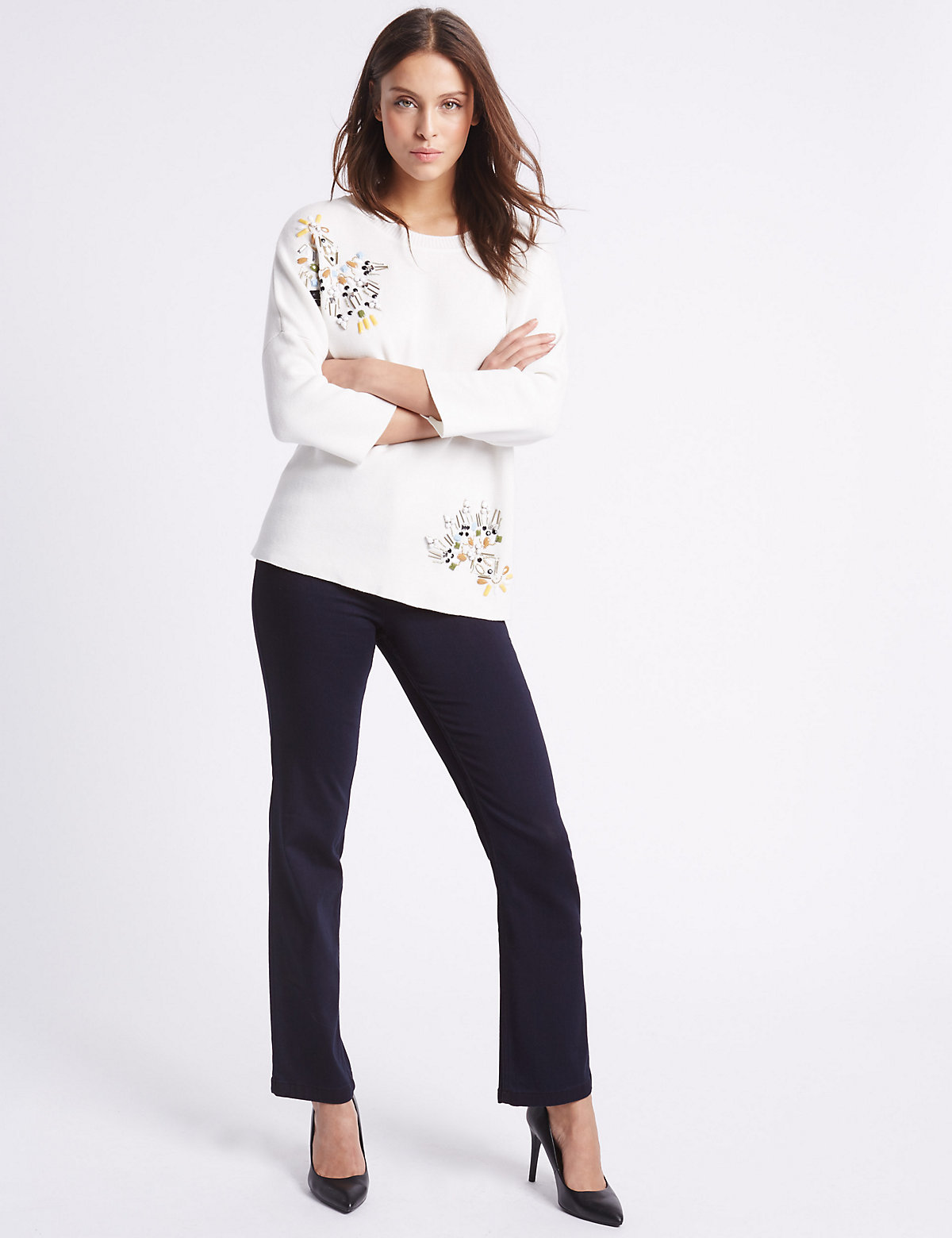 Per Una Embellished Roma Rise Straight Leg Jeans