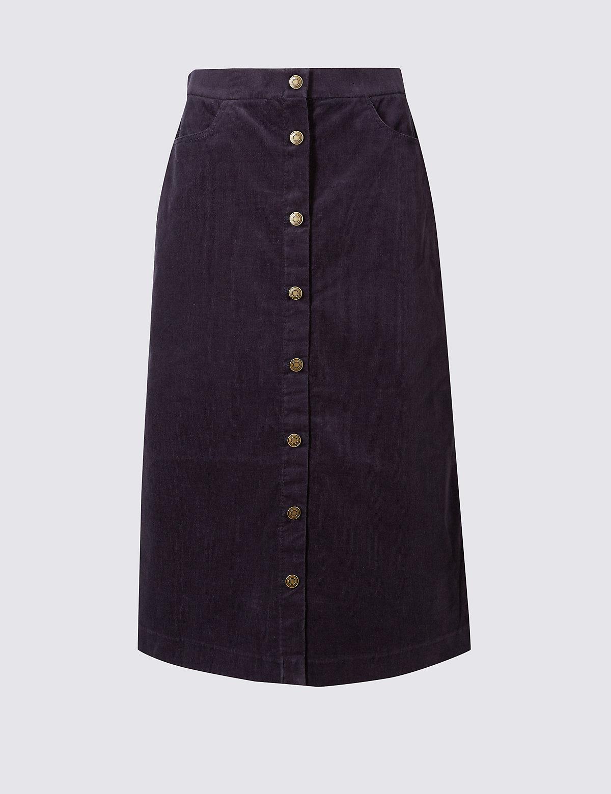 Classic Cotton Rich A-Line Midi Skirt