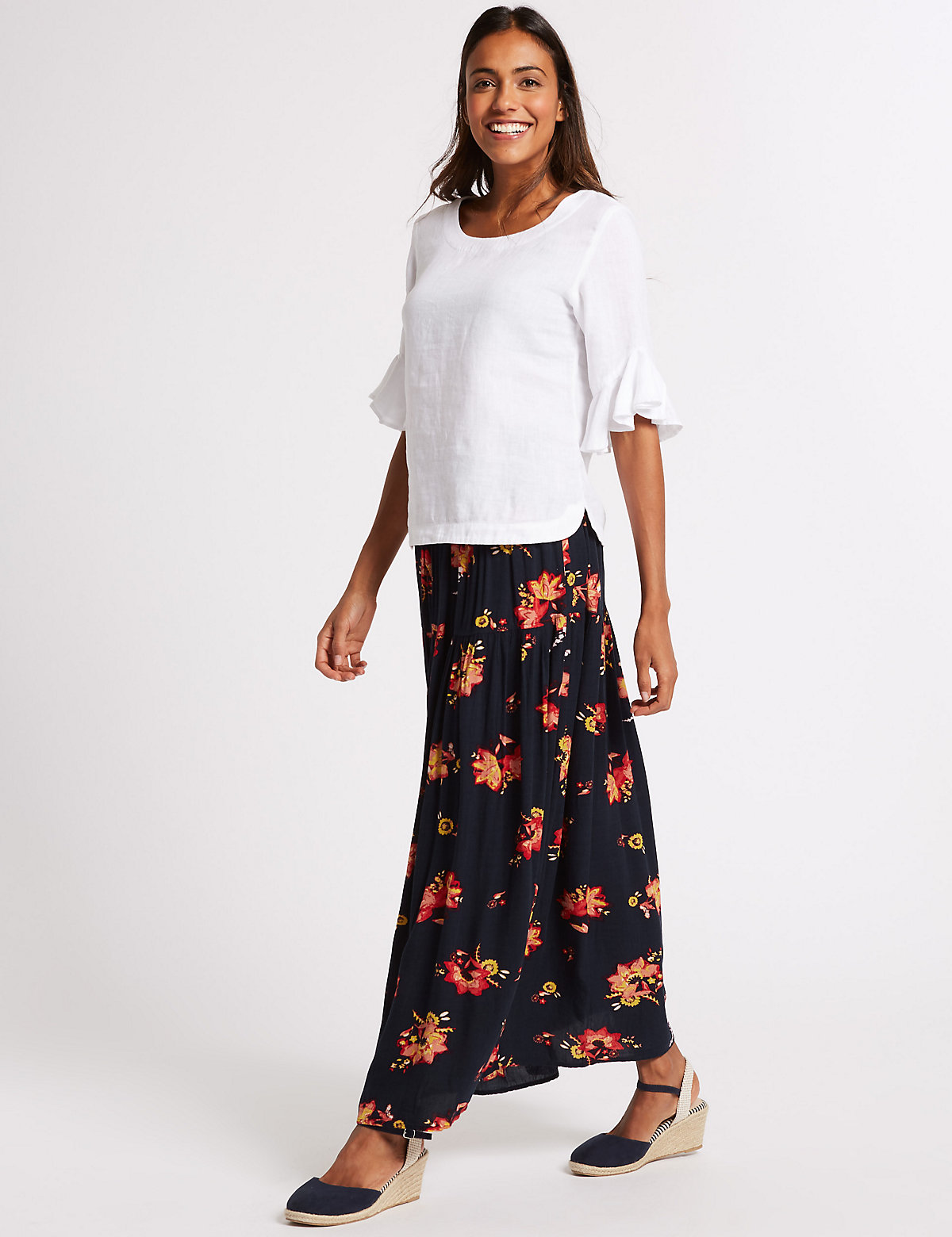 Image of M&S Collection Floral Print Crinkle Full Maxi Skirt