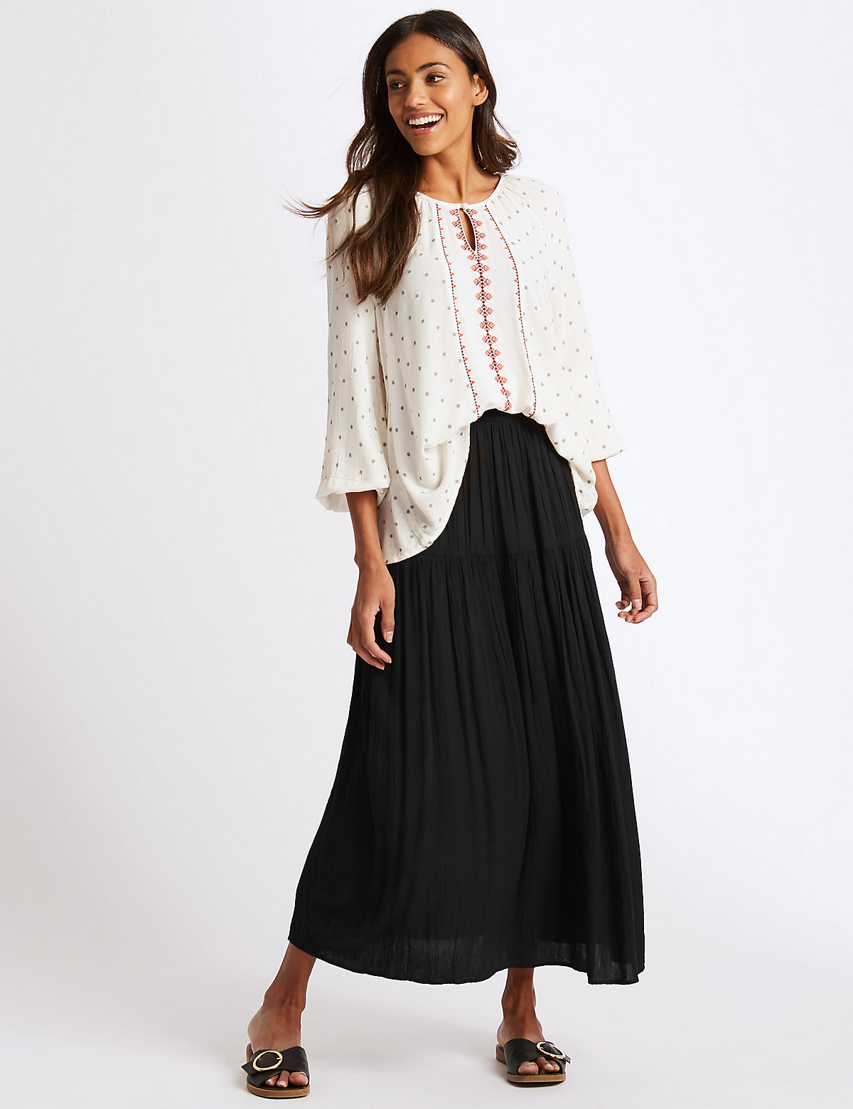 Image of M&S Collection Crinkle Full Maxi Skirt