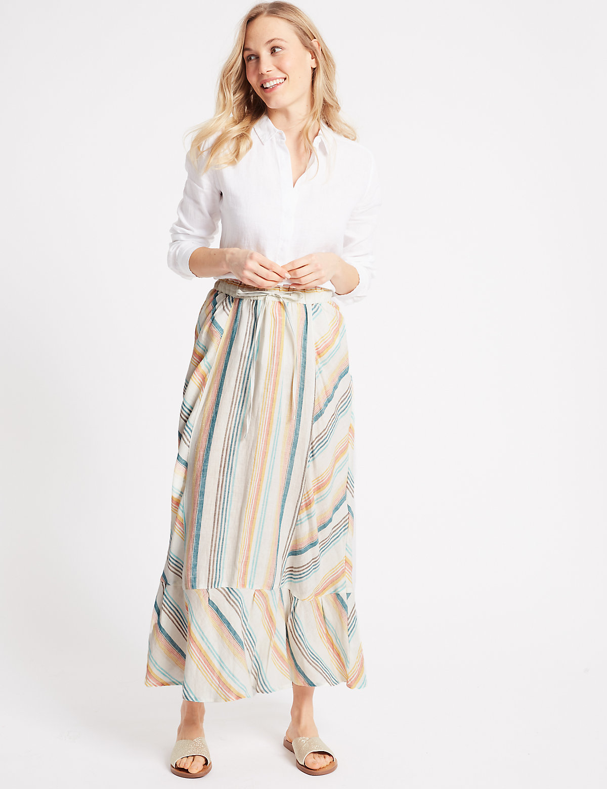 Image of M&S Collection Pure Linen Striped Cut About Full Maxi Skirt