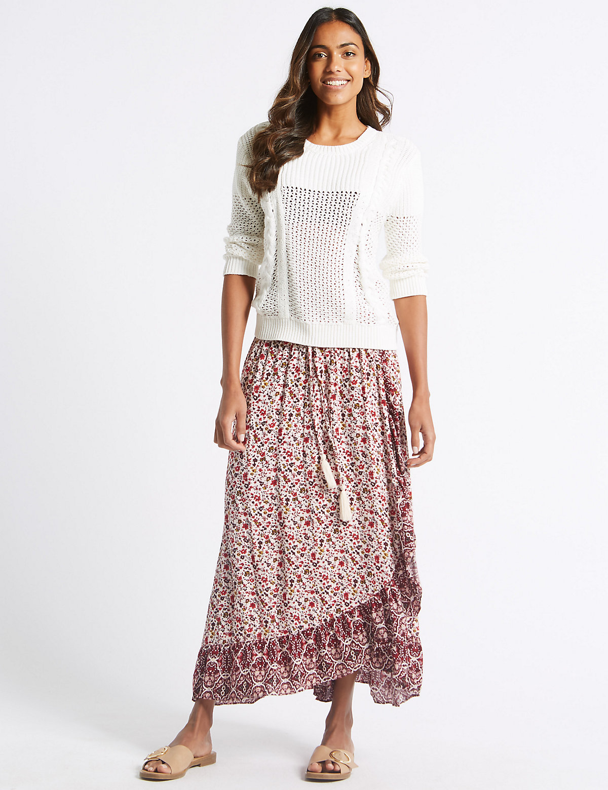 Image of M&S Collection Floral Print Full Maxi Skirt