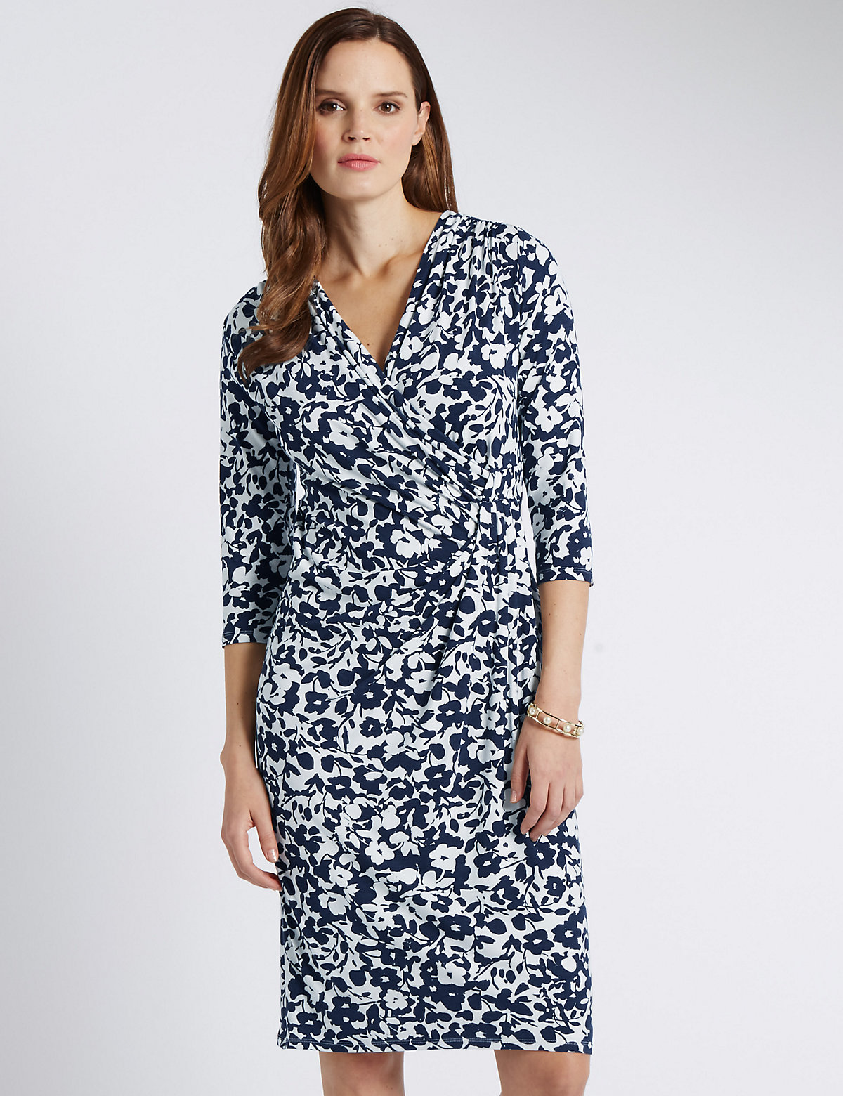 Classic 3/4 Sleeve Floral Wrap Style Bodycon Dress
