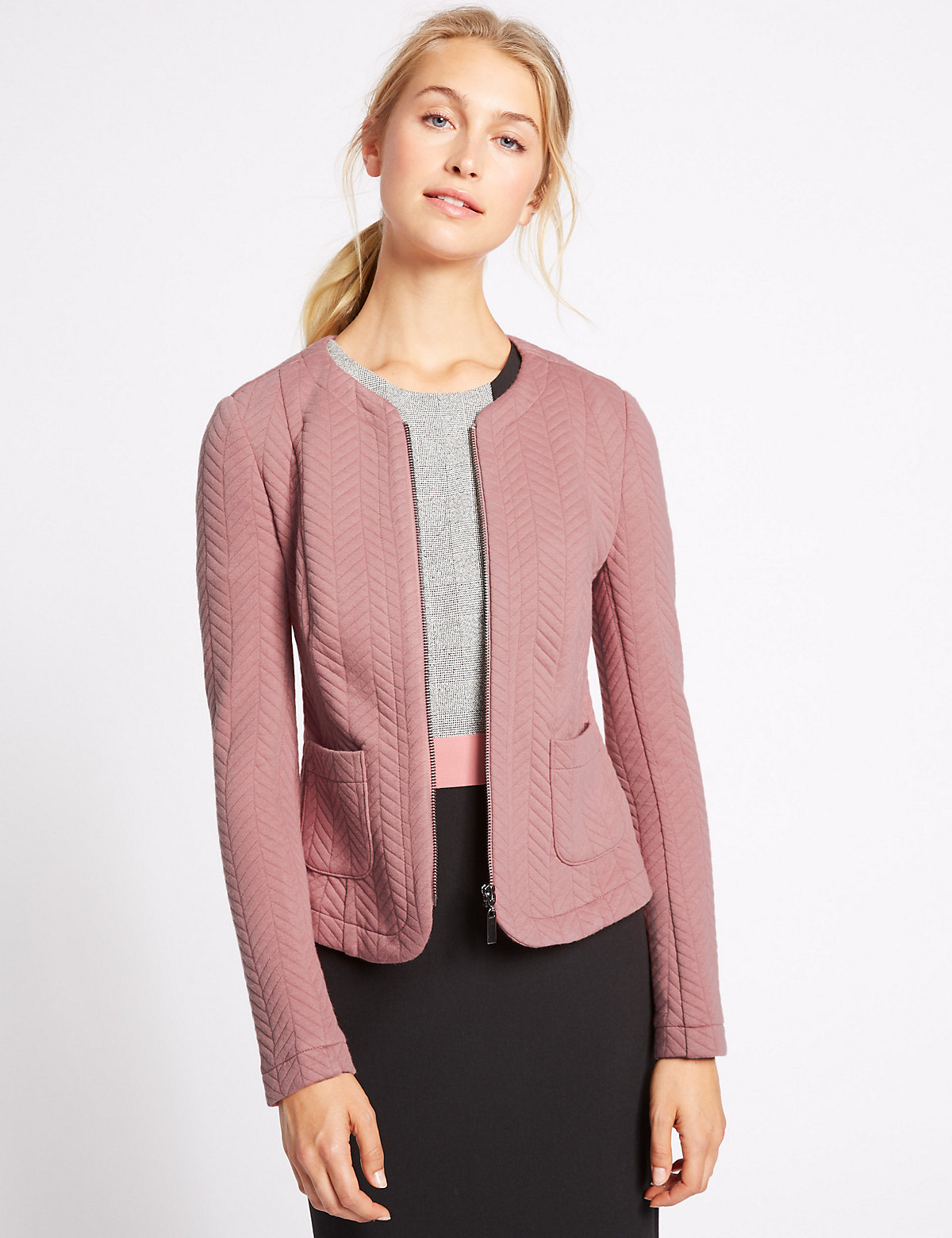 M&S Collection Textured Bomber Jacket