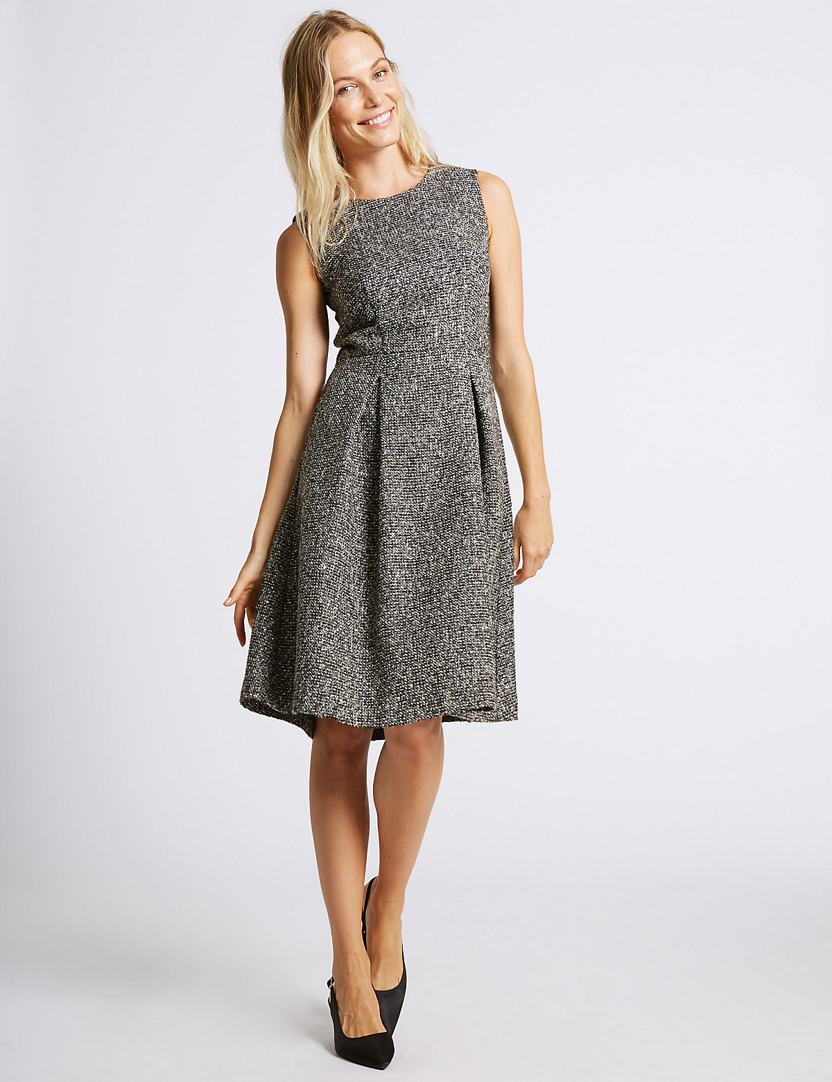 M&S Collection Textured Trophy A-Line Midi Dress