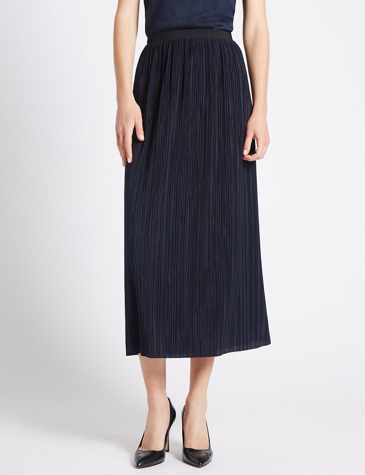 Per Una Plisse Ripple Stitched Midi Skirt