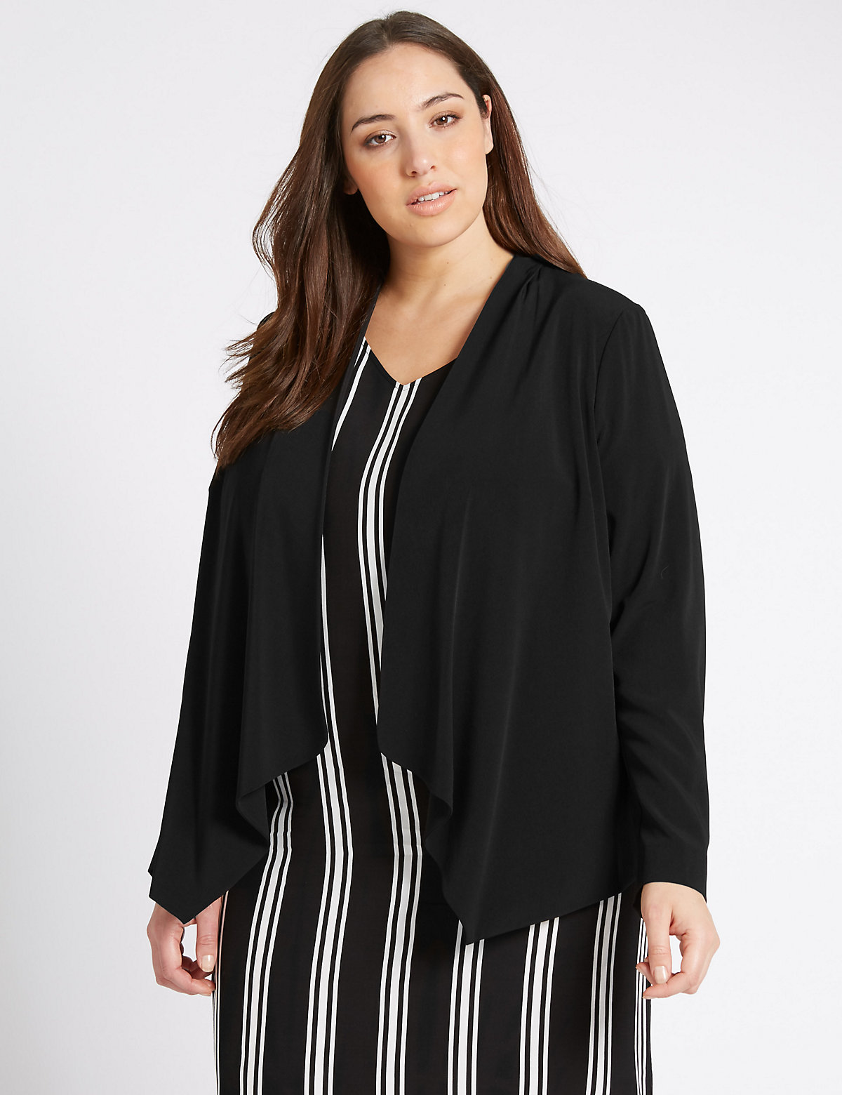 M&S Collection PLUS Long Sleeve Waterfall Jacket