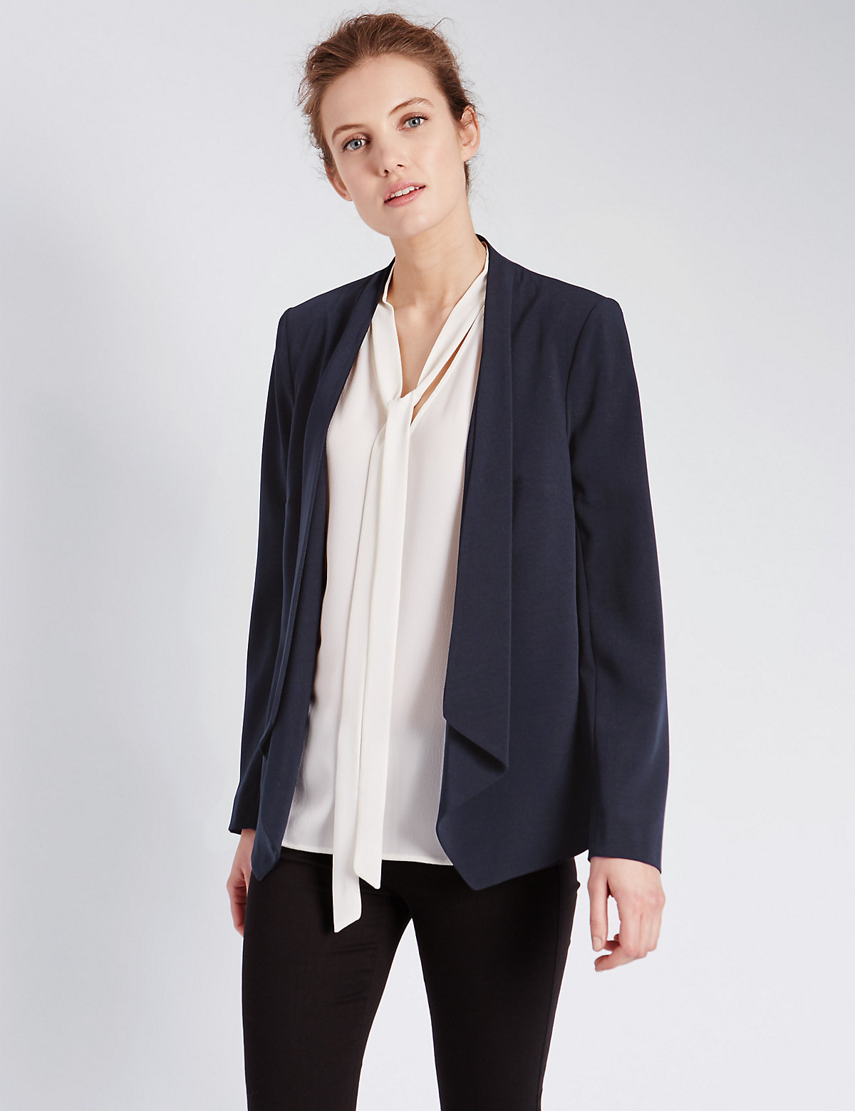 M&S Collection Open Front Zipped Sleeve Waterfall Jacket