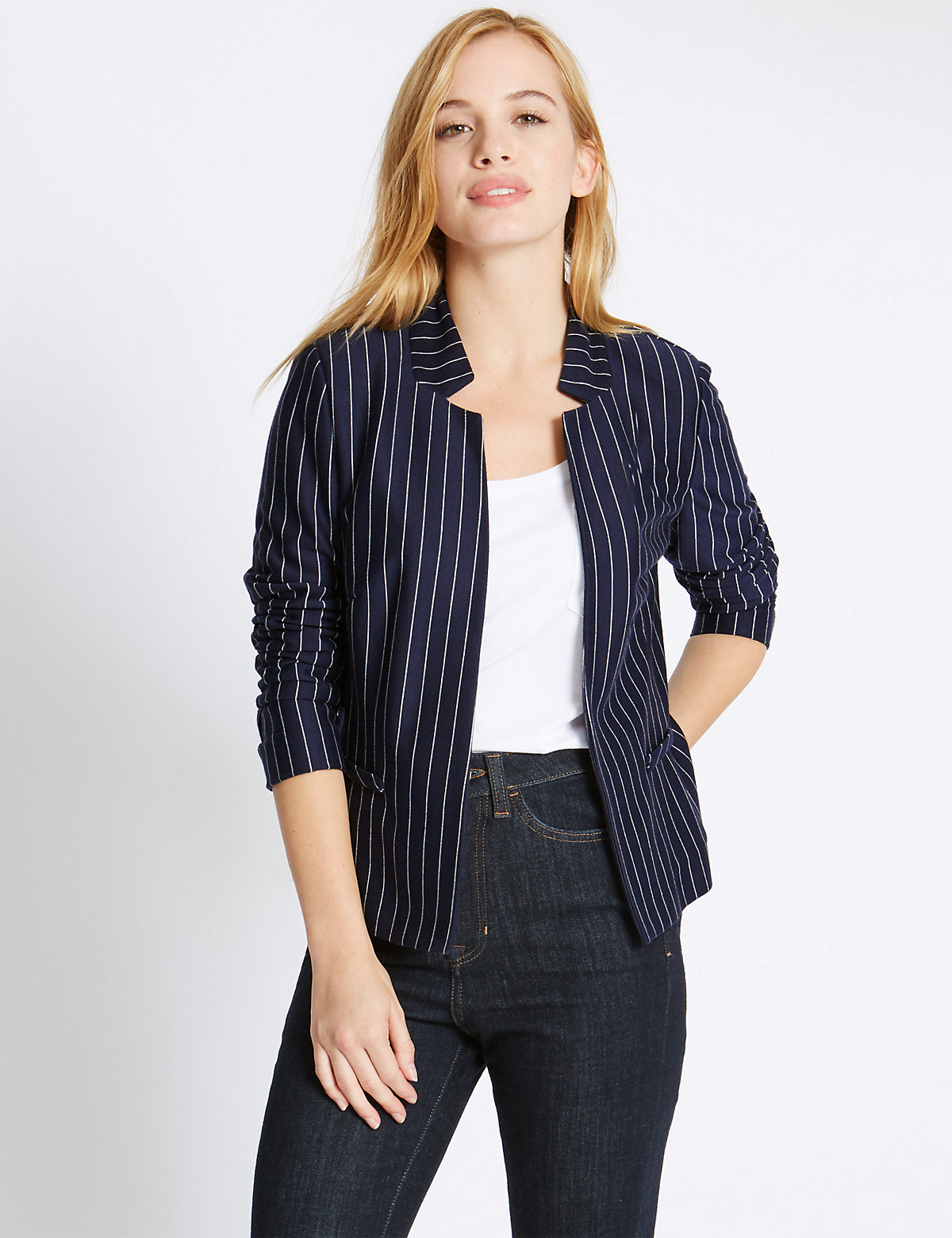 M&S Collection PETITE Pinstriped Long Sleeve Jacket