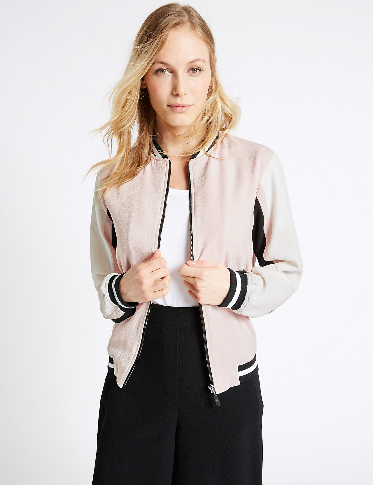 MS Collection Colour Block Bomber Jacket Marks and Spencer P22499348