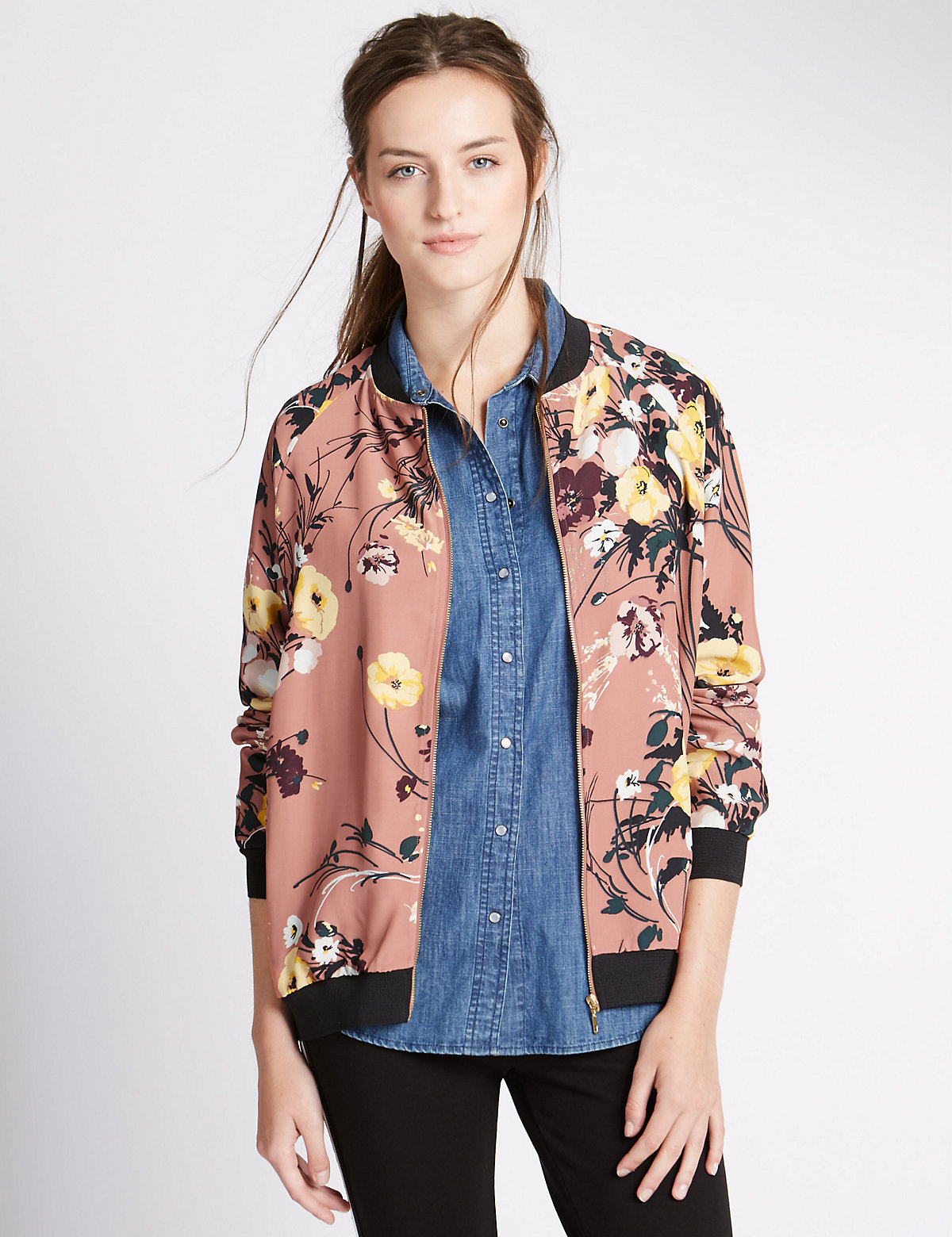 M&S Collection Floral Print Bomber Jacket